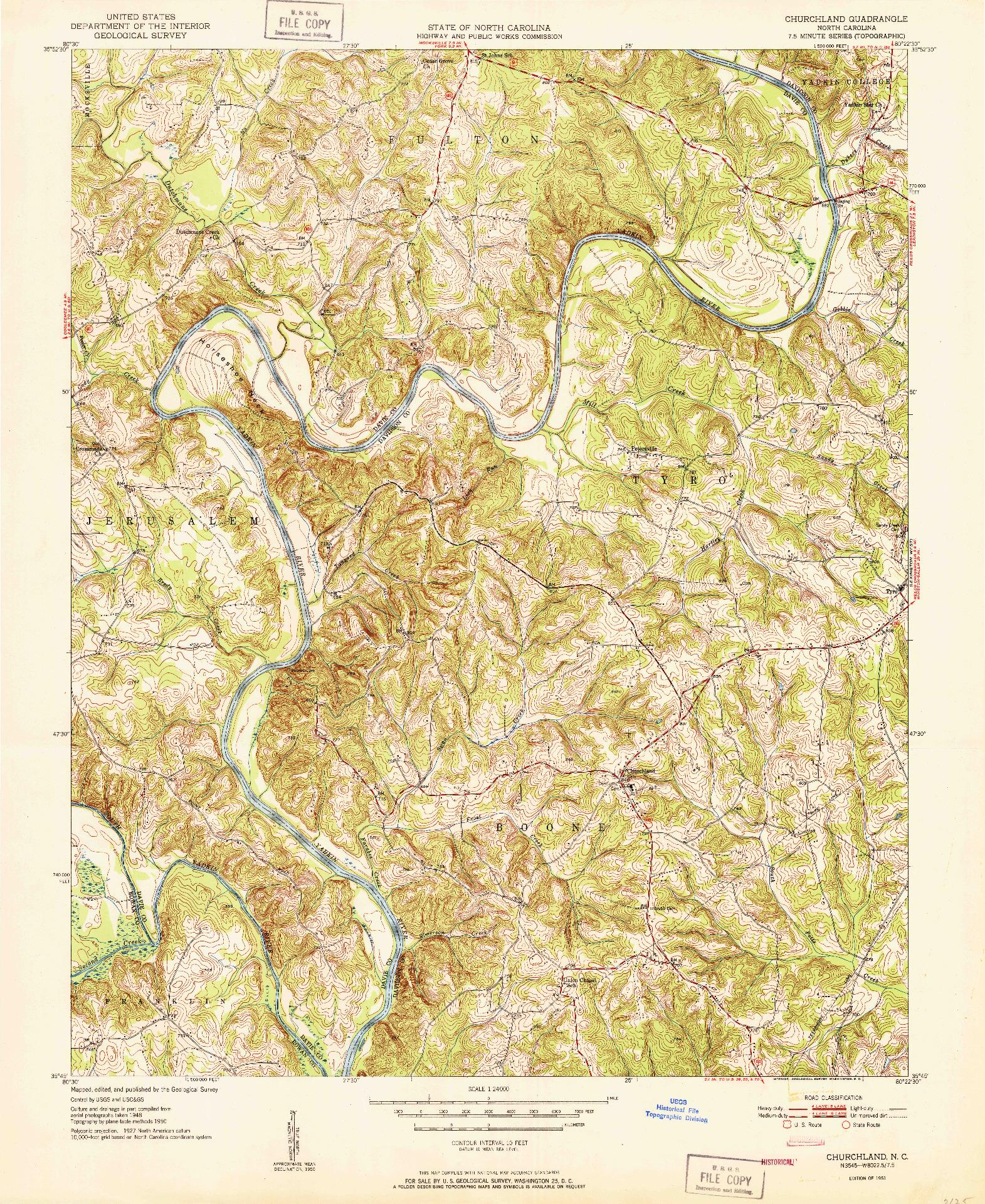 USGS 1:24000-SCALE QUADRANGLE FOR CHURCHLAND, NC 1951
