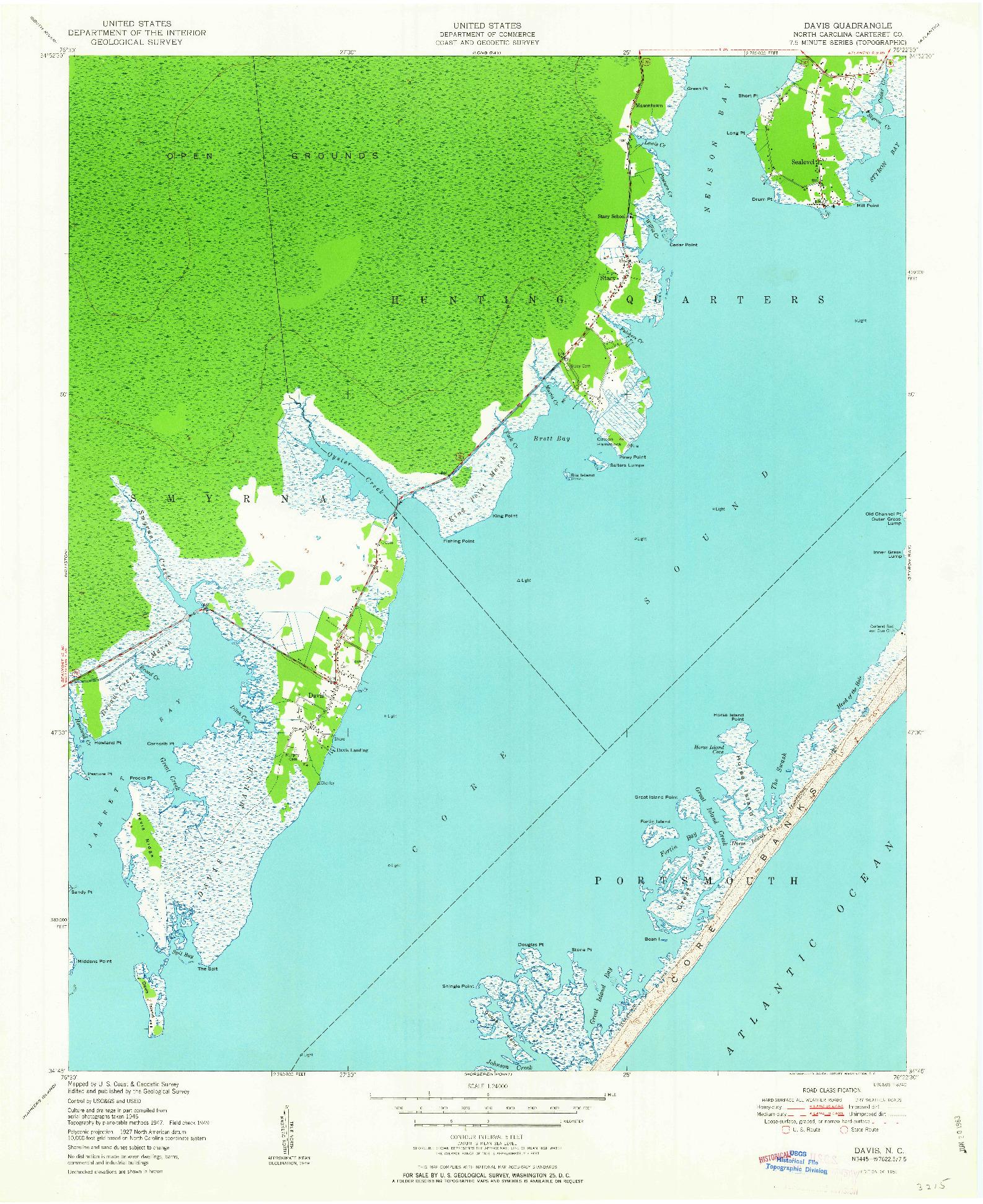USGS 1:24000-SCALE QUADRANGLE FOR DAVIS, NC 1951