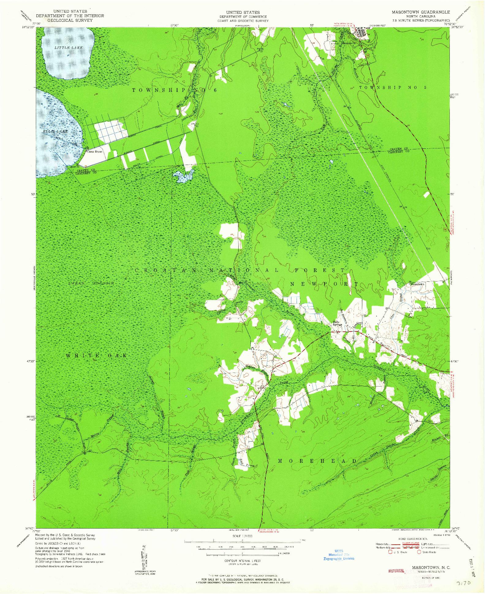 USGS 1:24000-SCALE QUADRANGLE FOR MASONTOWN, NC 1951