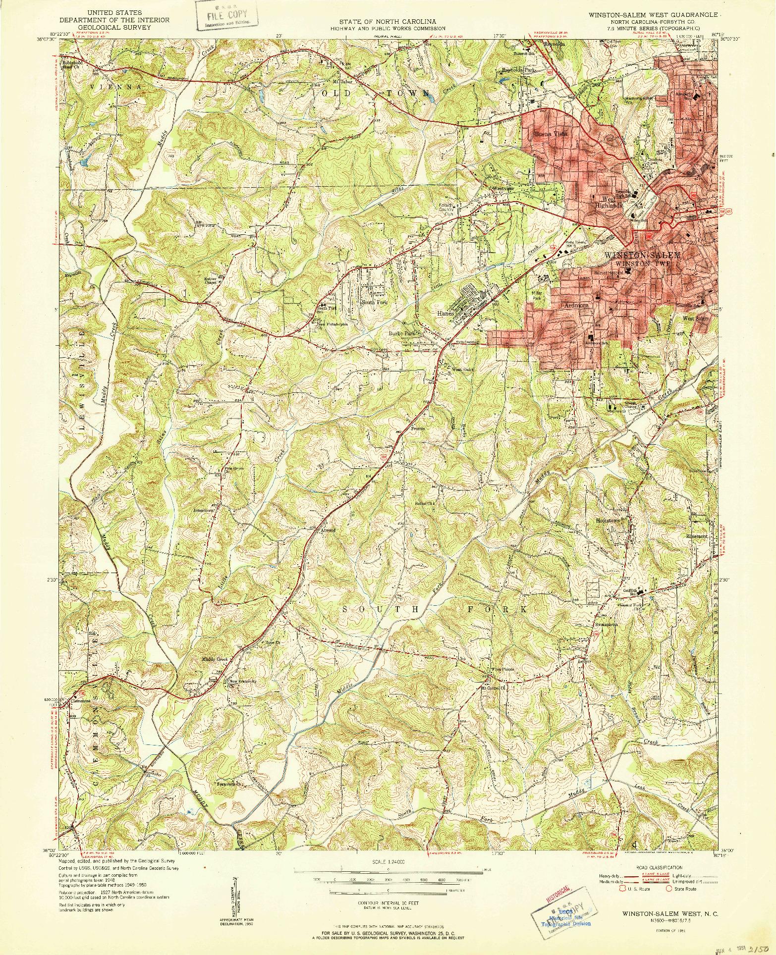 USGS 1:24000-SCALE QUADRANGLE FOR WINSTON-SALEM WEST, NC 1951