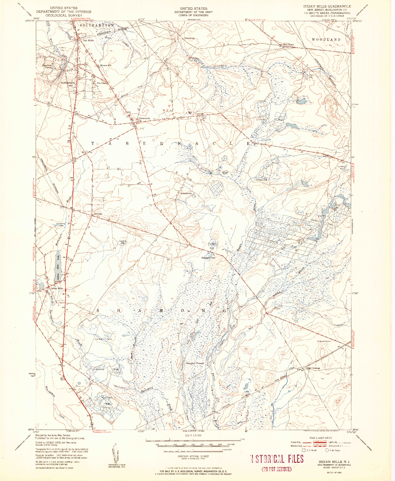 USGS 1:24000-SCALE QUADRANGLE FOR INDIAN MILLS, NJ 1951