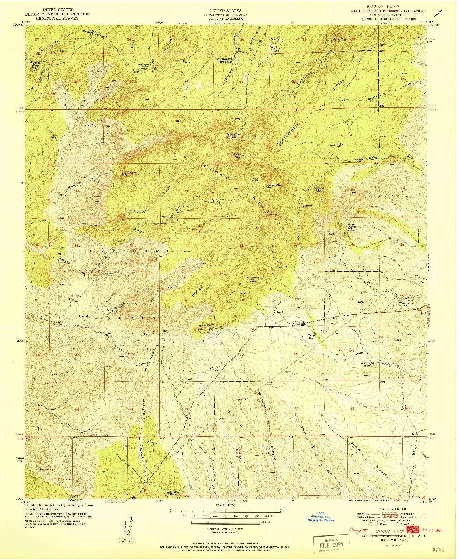 USGS 1:24000-SCALE QUADRANGLE FOR BURRO PEAK, NM 1951