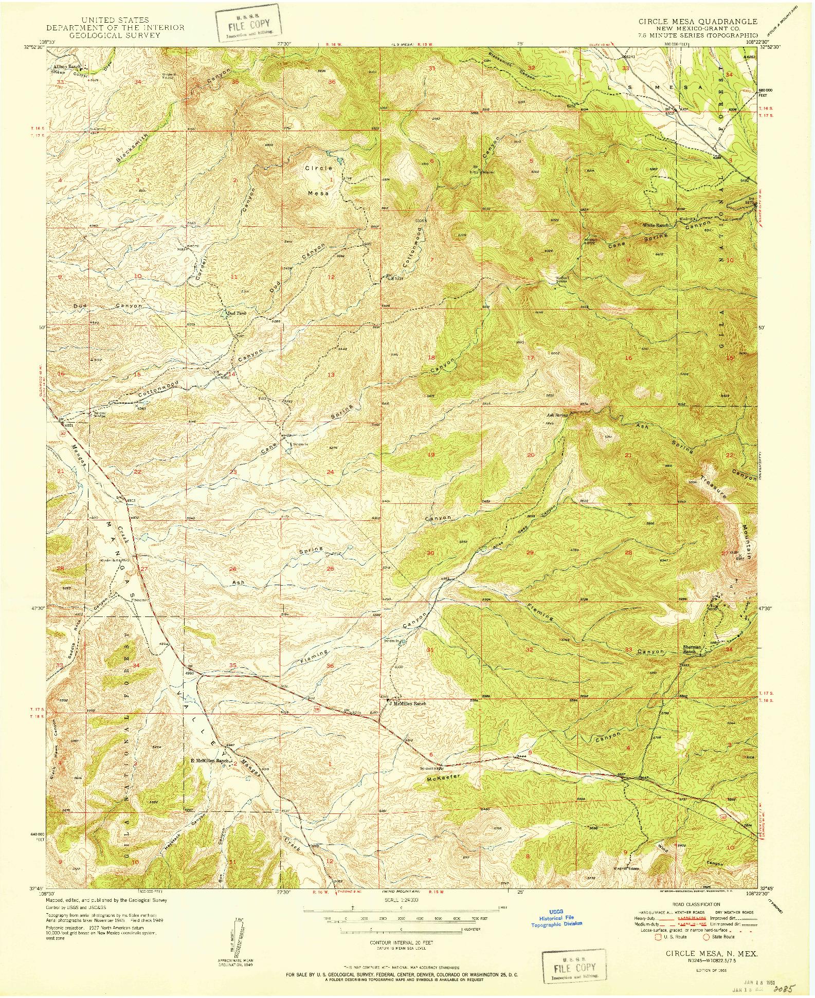 USGS 1:24000-SCALE QUADRANGLE FOR CIRCLE MESA, NM 1951