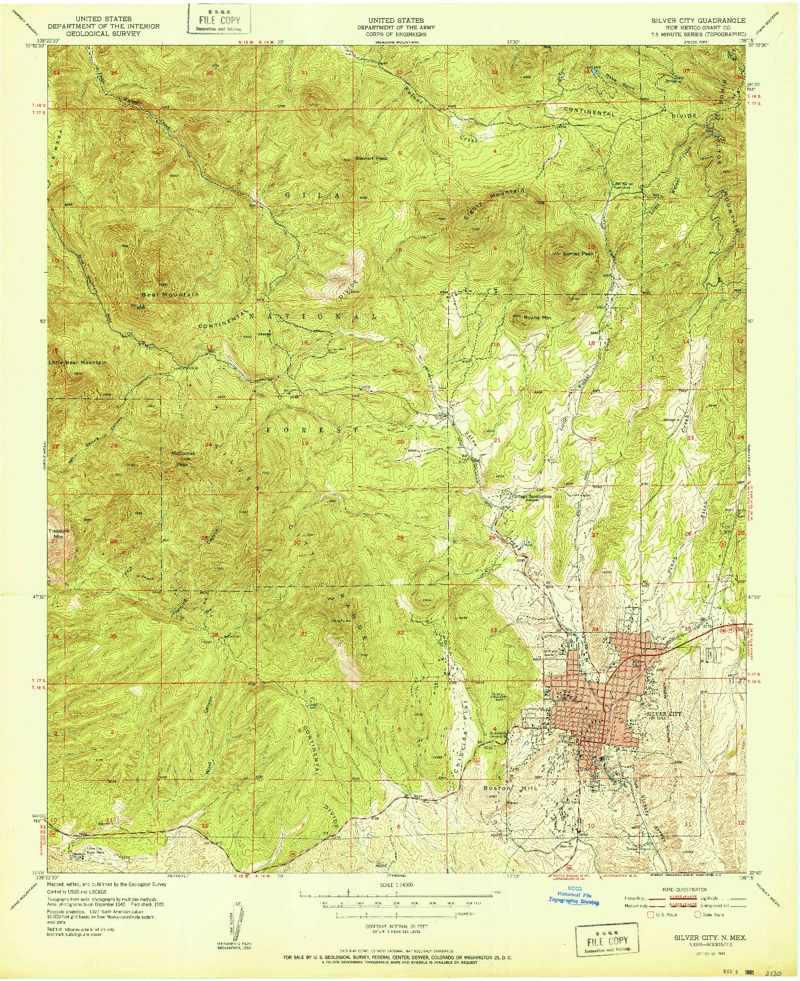 USGS 1:24000-SCALE QUADRANGLE FOR SILVER CITY, NM 1951