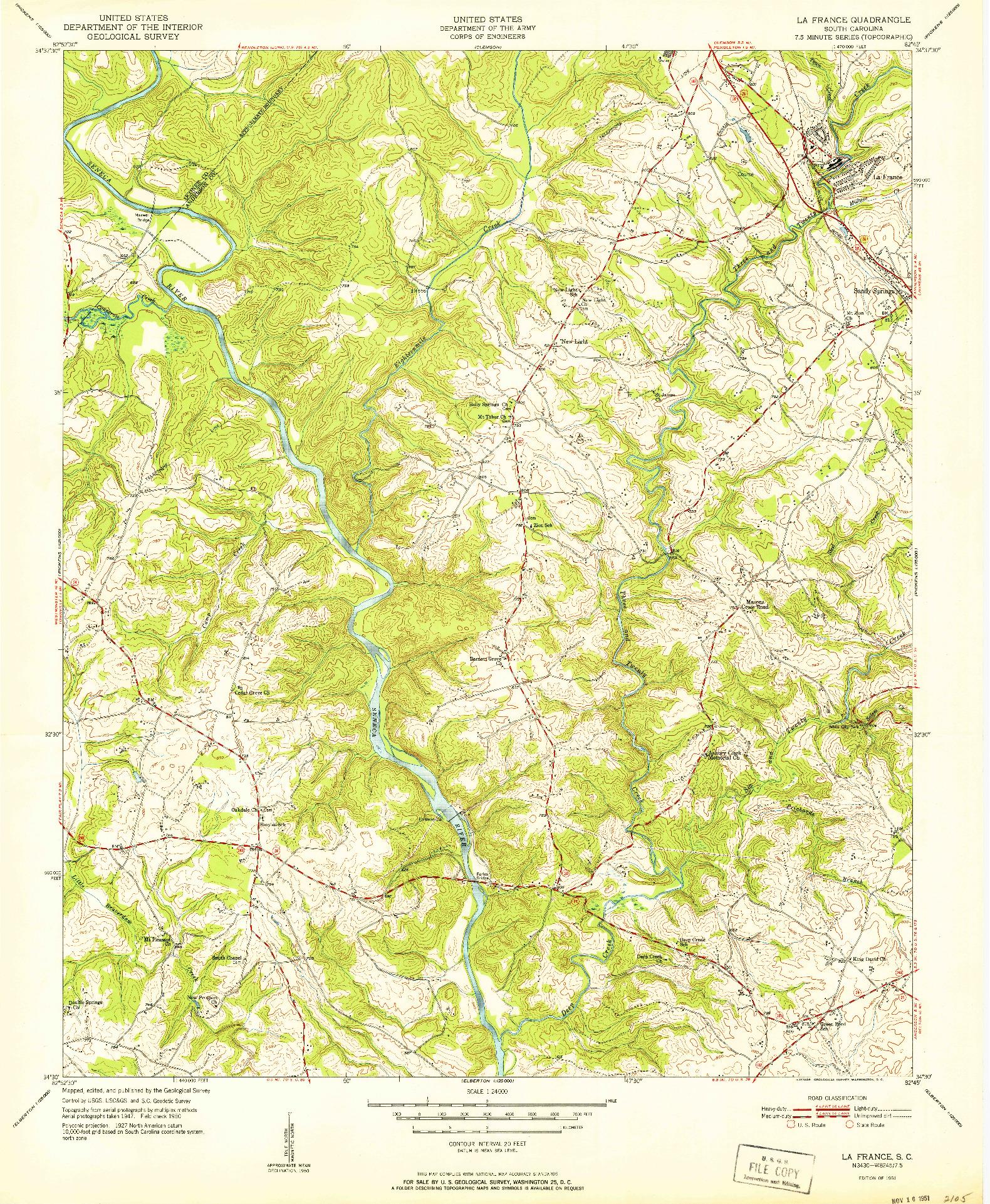 USGS 1:24000-SCALE QUADRANGLE FOR LA FRANCE, SC 1951