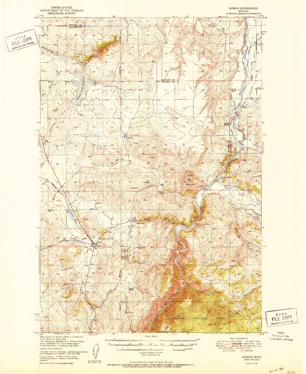 USGS 1:62500-SCALE QUADRANGLE FOR NORRIS, MT 1951