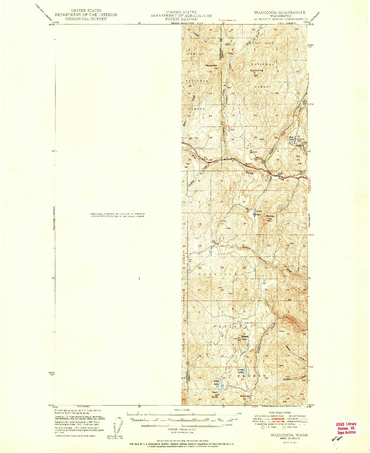 USGS 1:62500-SCALE QUADRANGLE FOR WAUCONDA, WA 1951