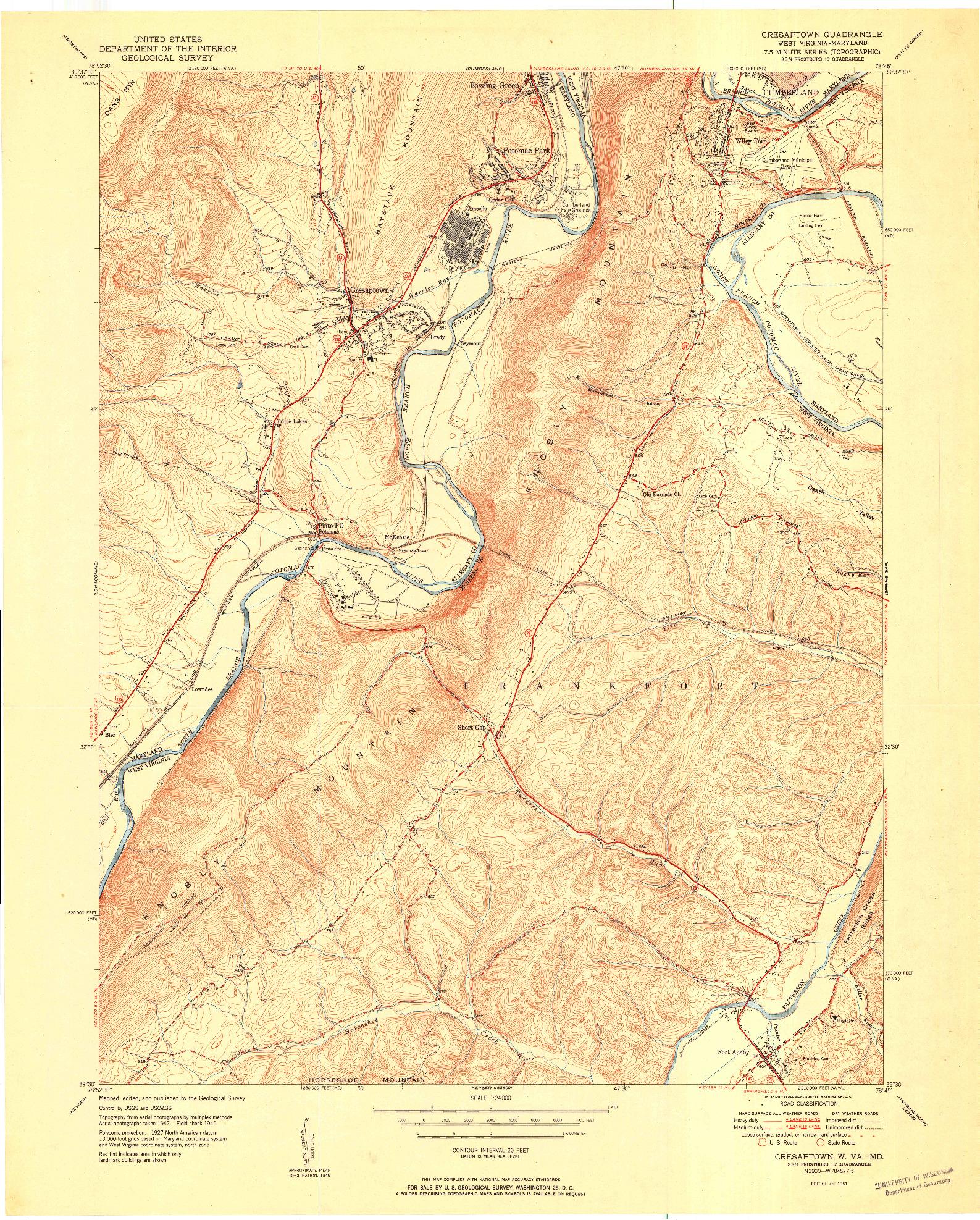 USGS 1:24000-SCALE QUADRANGLE FOR CRESAPTOWN, WV 1951