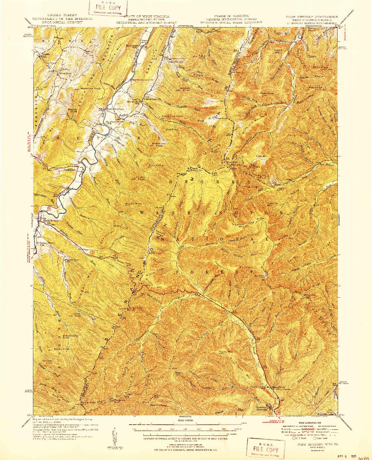 USGS 1:62500-SCALE QUADRANGLE FOR FORT SEYBERT, WV 1951