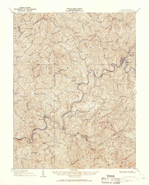 USGS 1:62500-SCALE QUADRANGLE FOR GASSAWAY, WV 1910