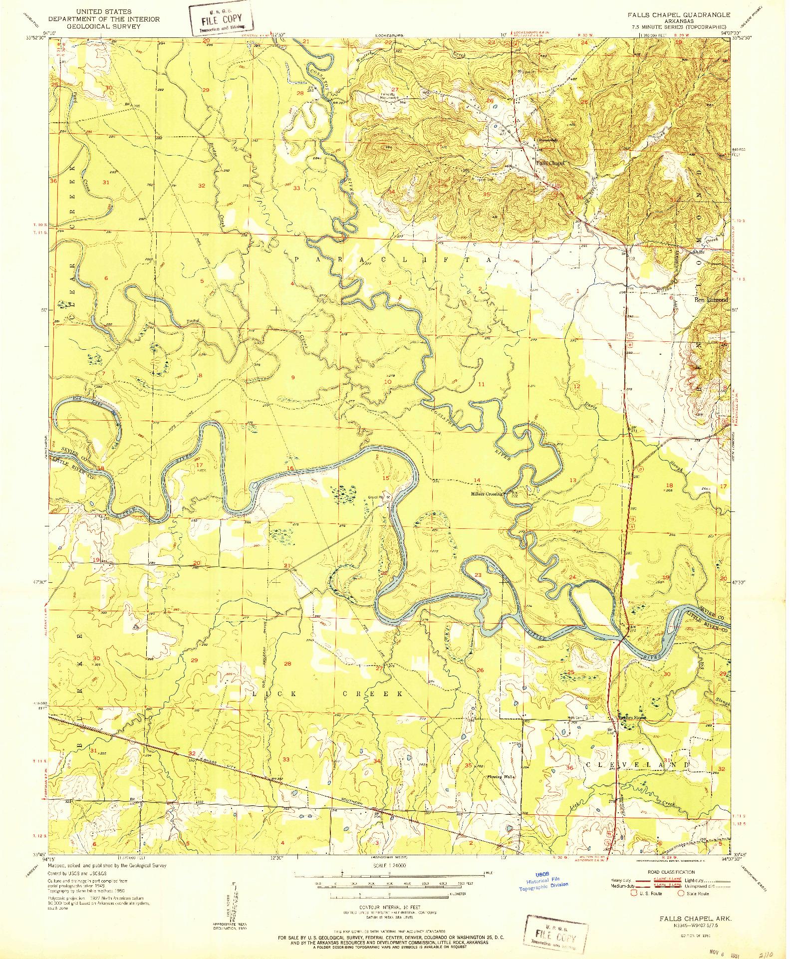 USGS 1:24000-SCALE QUADRANGLE FOR FALLS CHAPEL, AR 1951