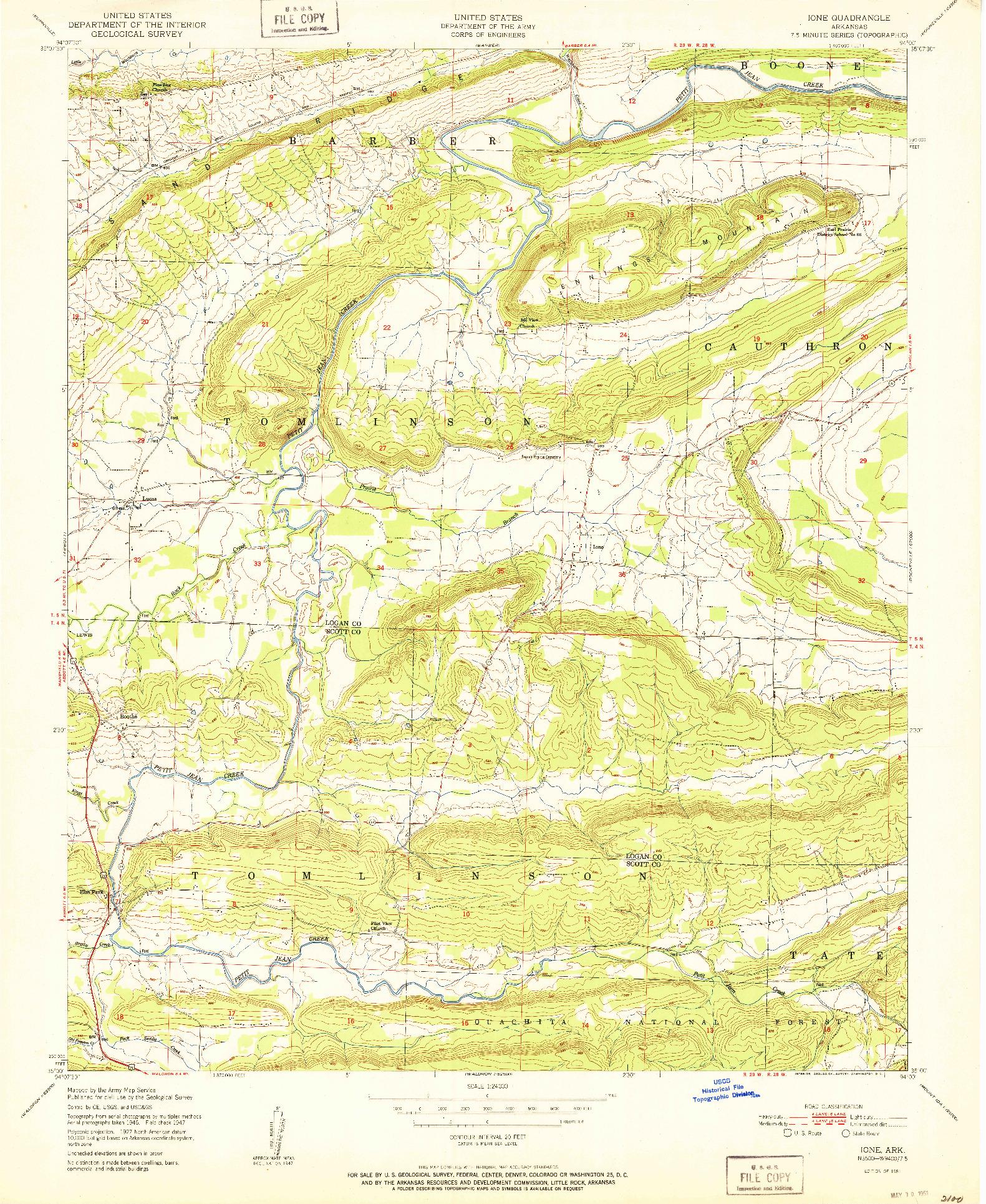 USGS 1:24000-SCALE QUADRANGLE FOR IONE, AR 1951