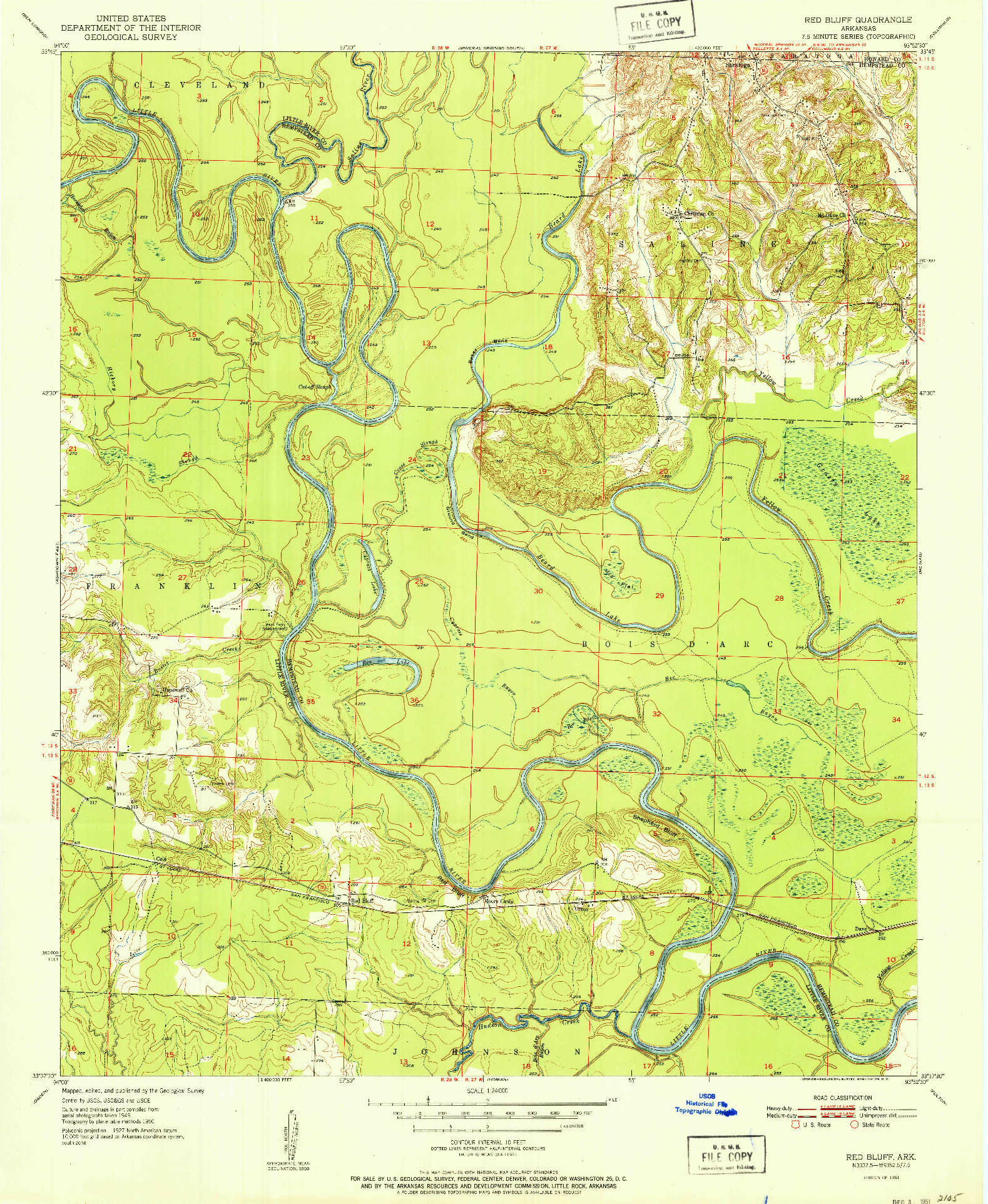 USGS 1:24000-SCALE QUADRANGLE FOR RED BLUFF, AR 1951