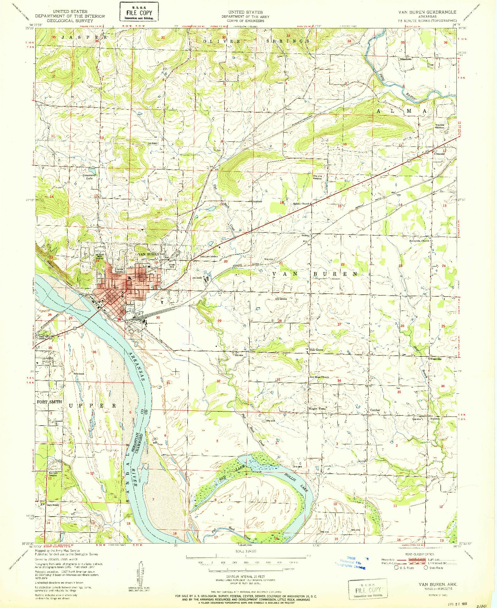 USGS 1:24000-SCALE QUADRANGLE FOR VAN BUREN, AR 1951