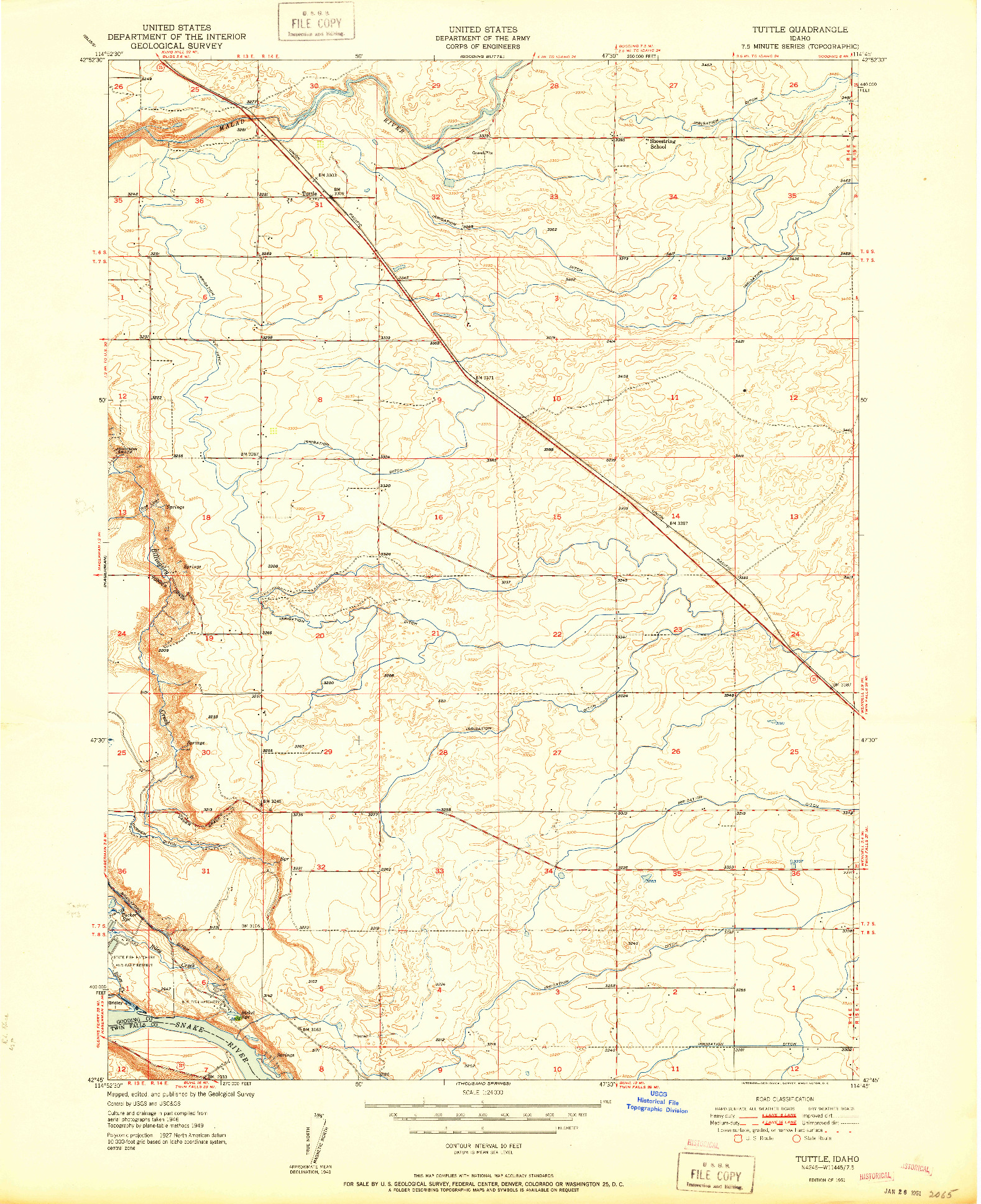 USGS 1:24000-SCALE QUADRANGLE FOR TUTTLE, ID 1951