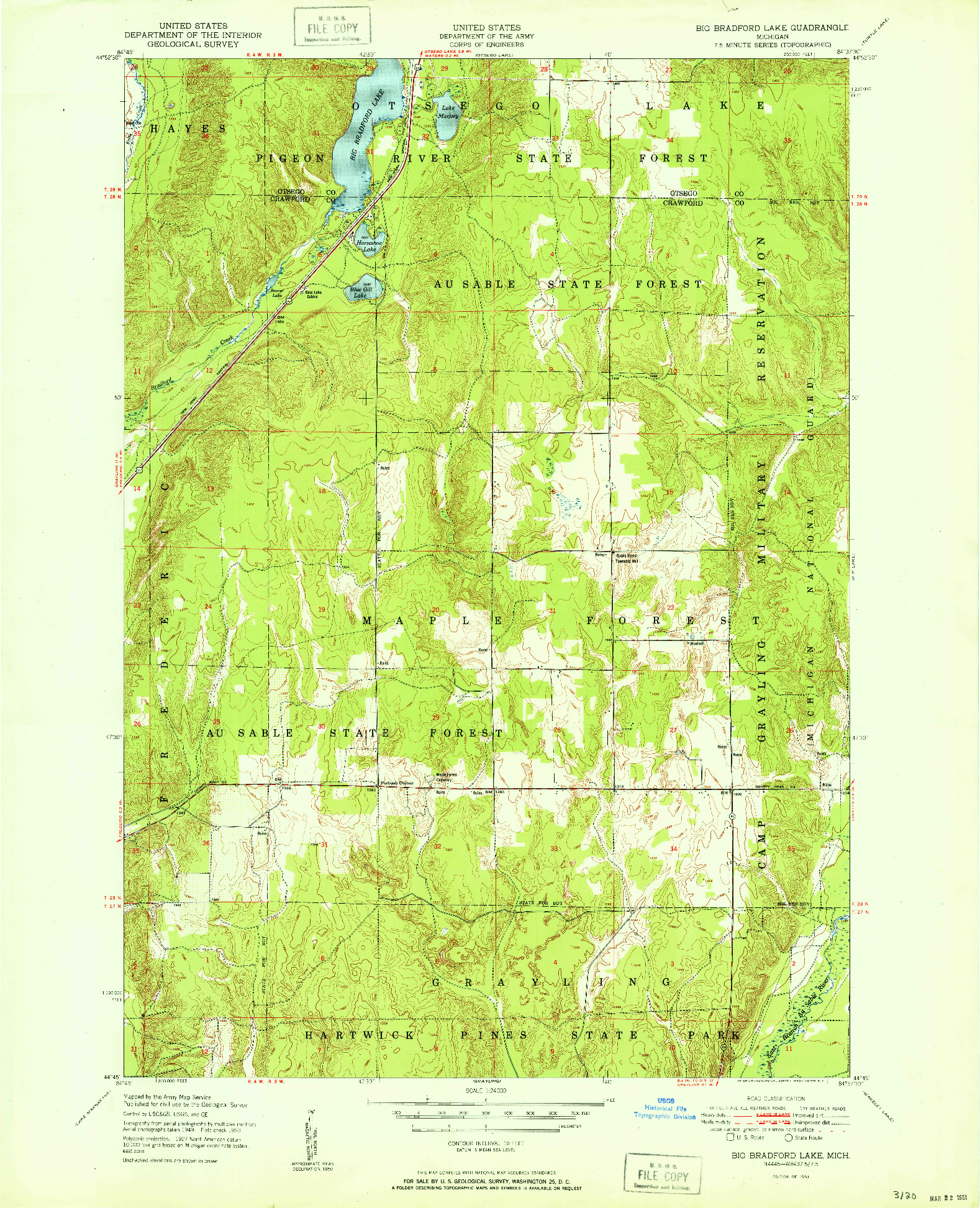 USGS 1:24000-SCALE QUADRANGLE FOR BIG BRADFORD LAKE, MI 1951