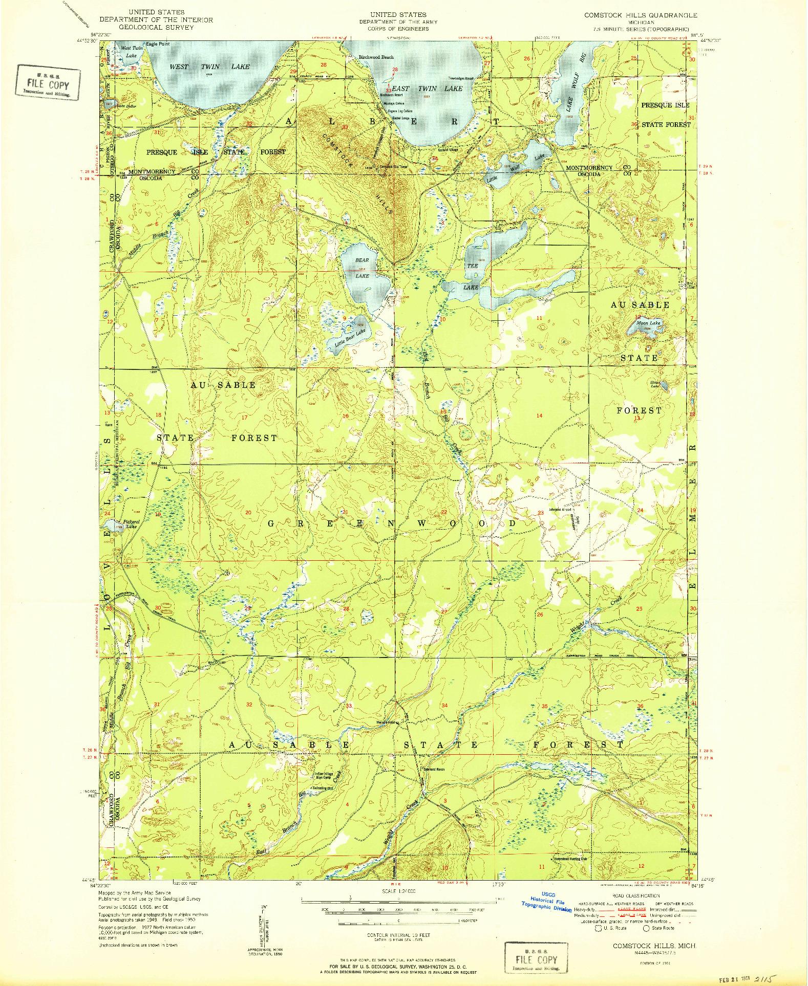USGS 1:24000-SCALE QUADRANGLE FOR COMSTOCK HILLS, MI 1951