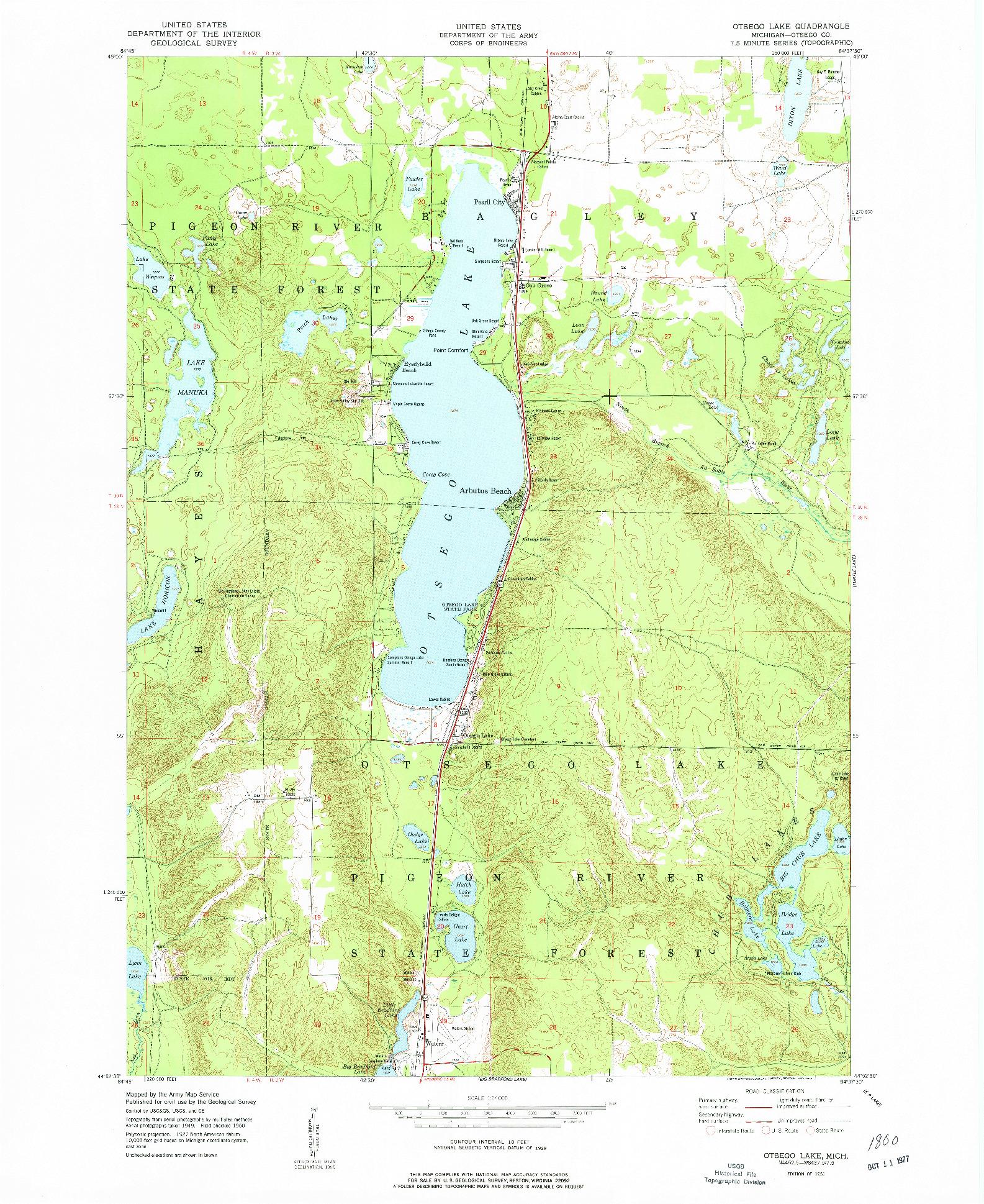 USGS 1:24000-SCALE QUADRANGLE FOR OTSEGO LAKE, MI 1951