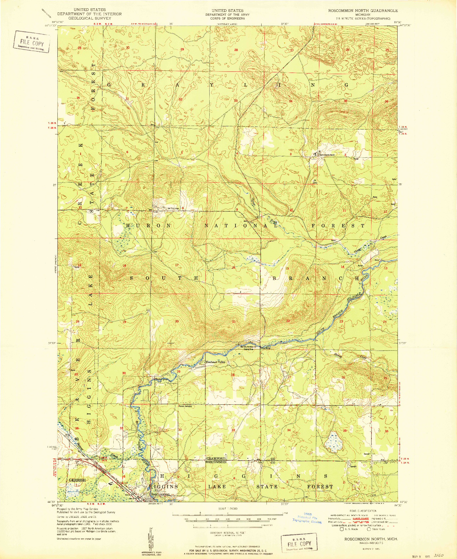 USGS 1:24000-SCALE QUADRANGLE FOR ROSCOMMON NORTH, MI 1951