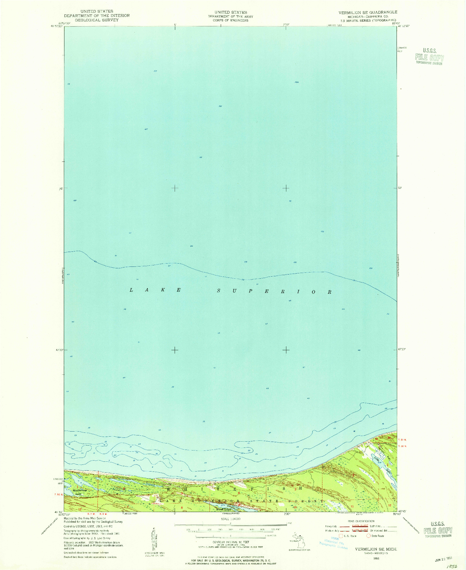 USGS 1:24000-SCALE QUADRANGLE FOR VERMILION SE, MI 1951