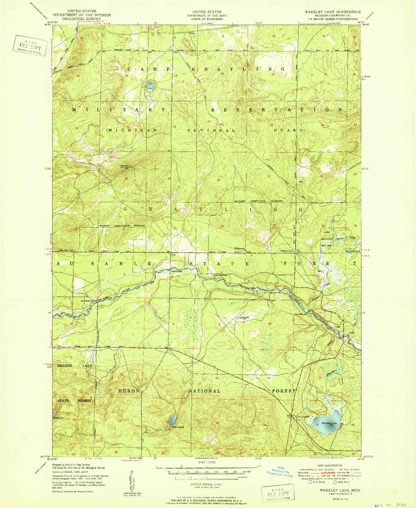 USGS 1:24000-SCALE QUADRANGLE FOR WAKELEY LAKE, MI 1951