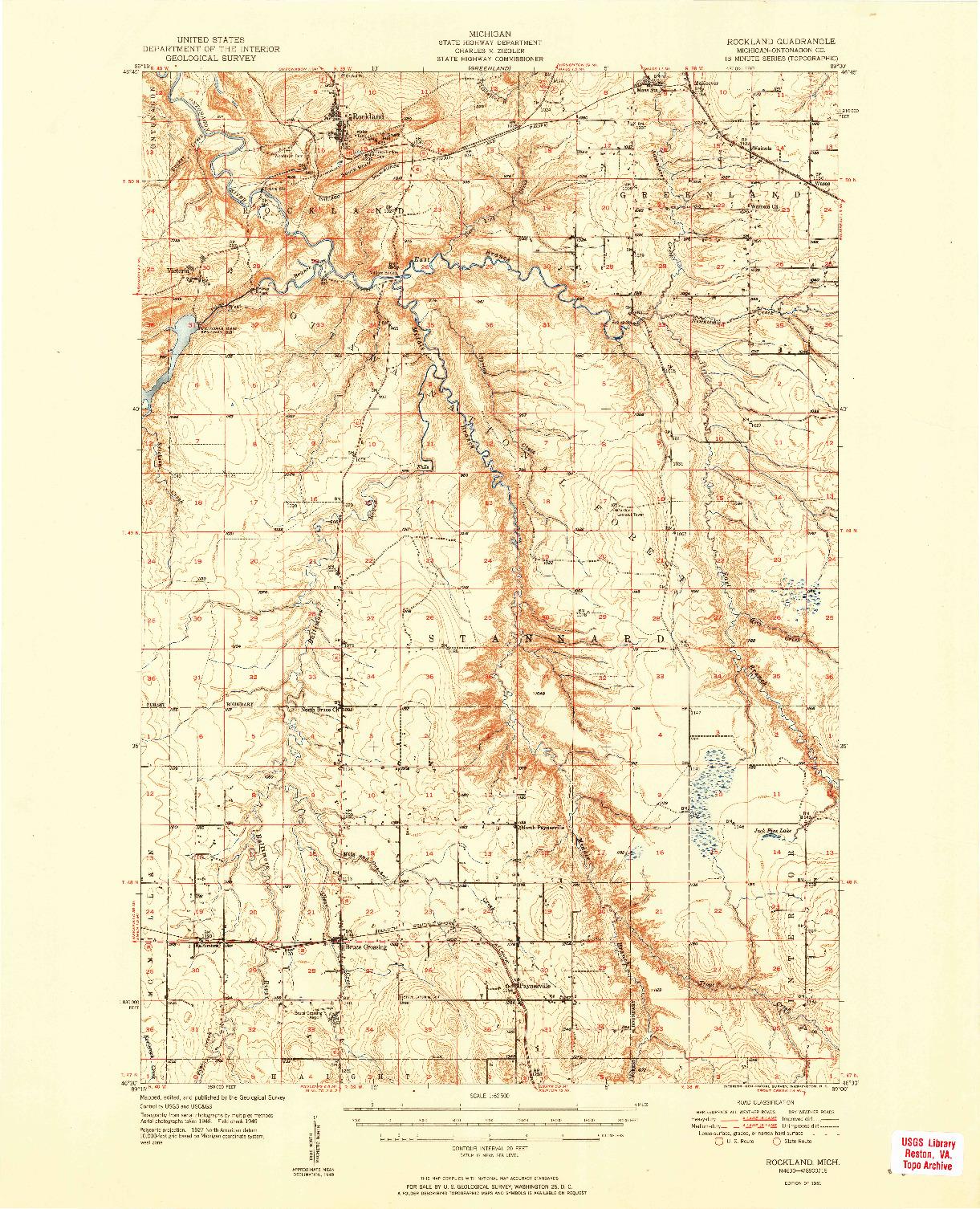 USGS 1:62500-SCALE QUADRANGLE FOR ROCKLAND, MI 1951