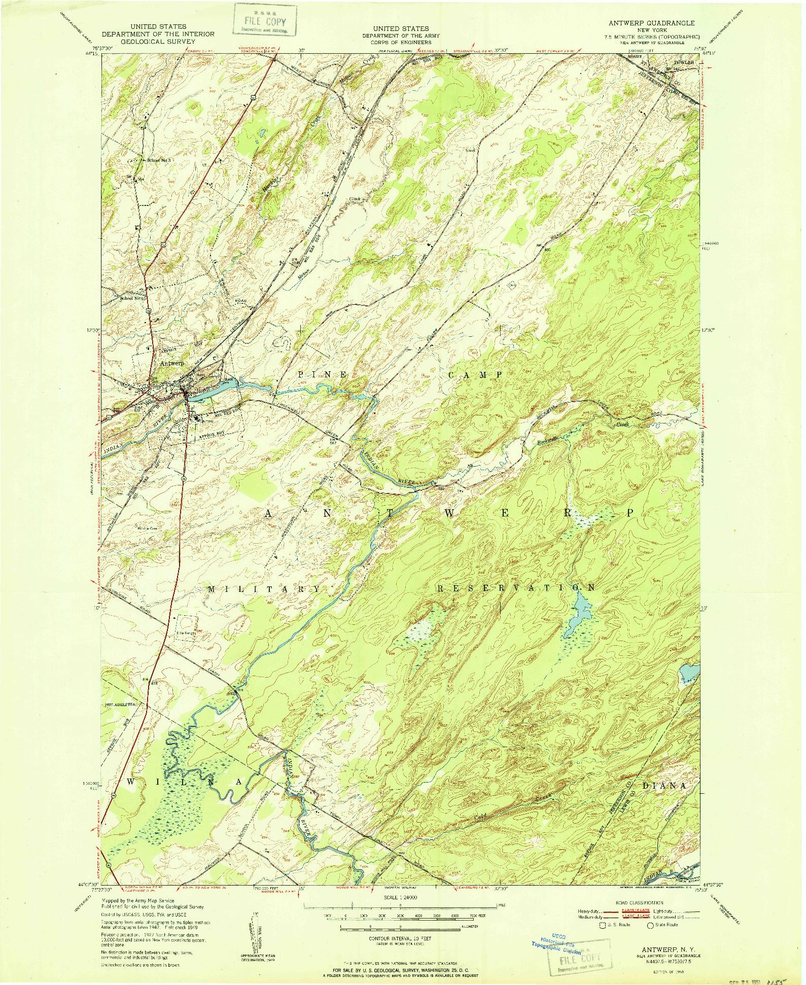 USGS 1:24000-SCALE QUADRANGLE FOR ANTWERP, NY 1951