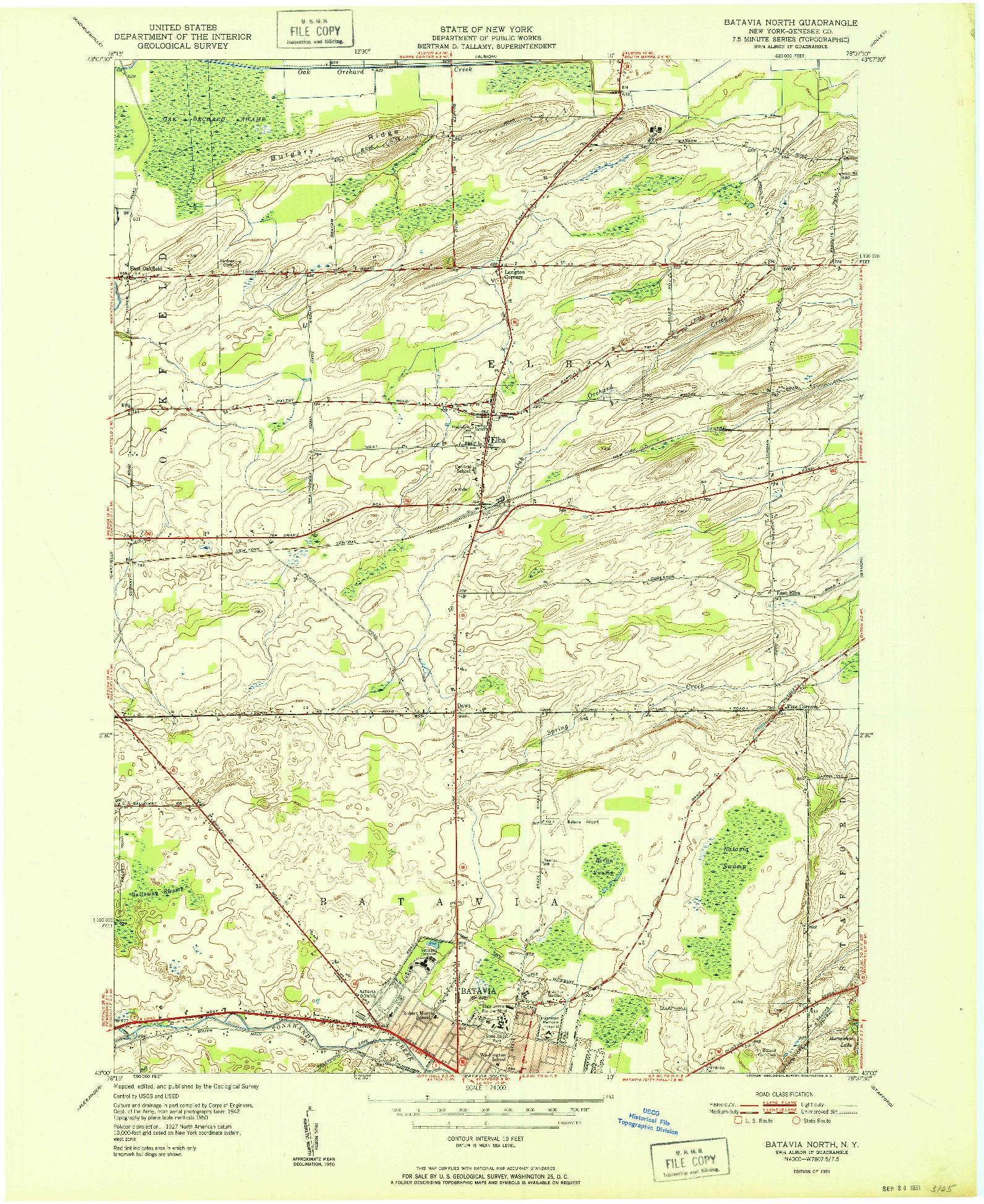 USGS 1:24000-SCALE QUADRANGLE FOR BATAVIA NORTH, NY 1951