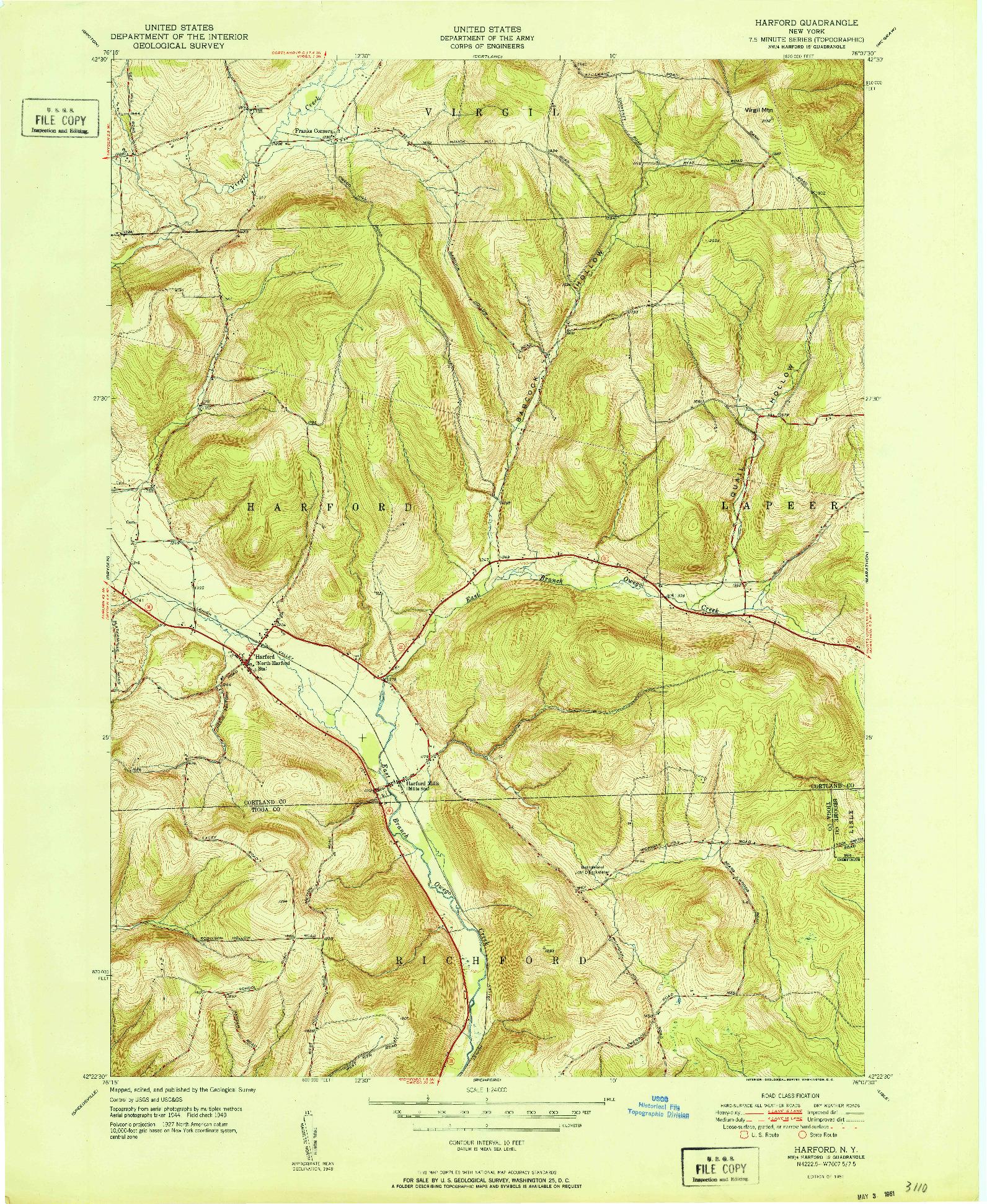 USGS 1:24000-SCALE QUADRANGLE FOR HARFORD, NY 1951