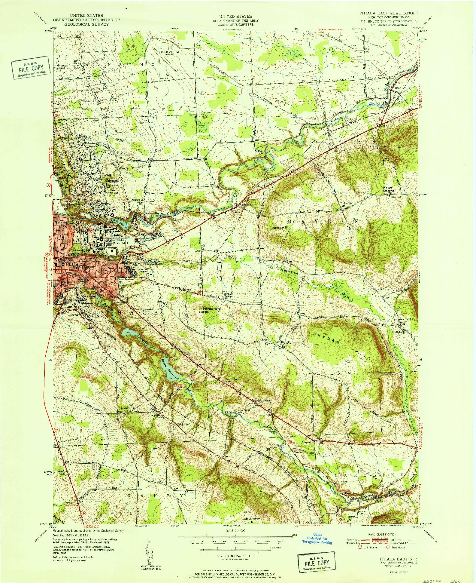 USGS 1:24000-SCALE QUADRANGLE FOR ITHACA EAST, NY 1951