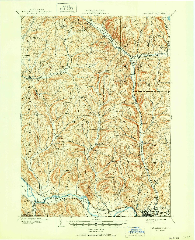 USGS 1:62500-SCALE QUADRANGLE FOR WAVERLY, NY 1902