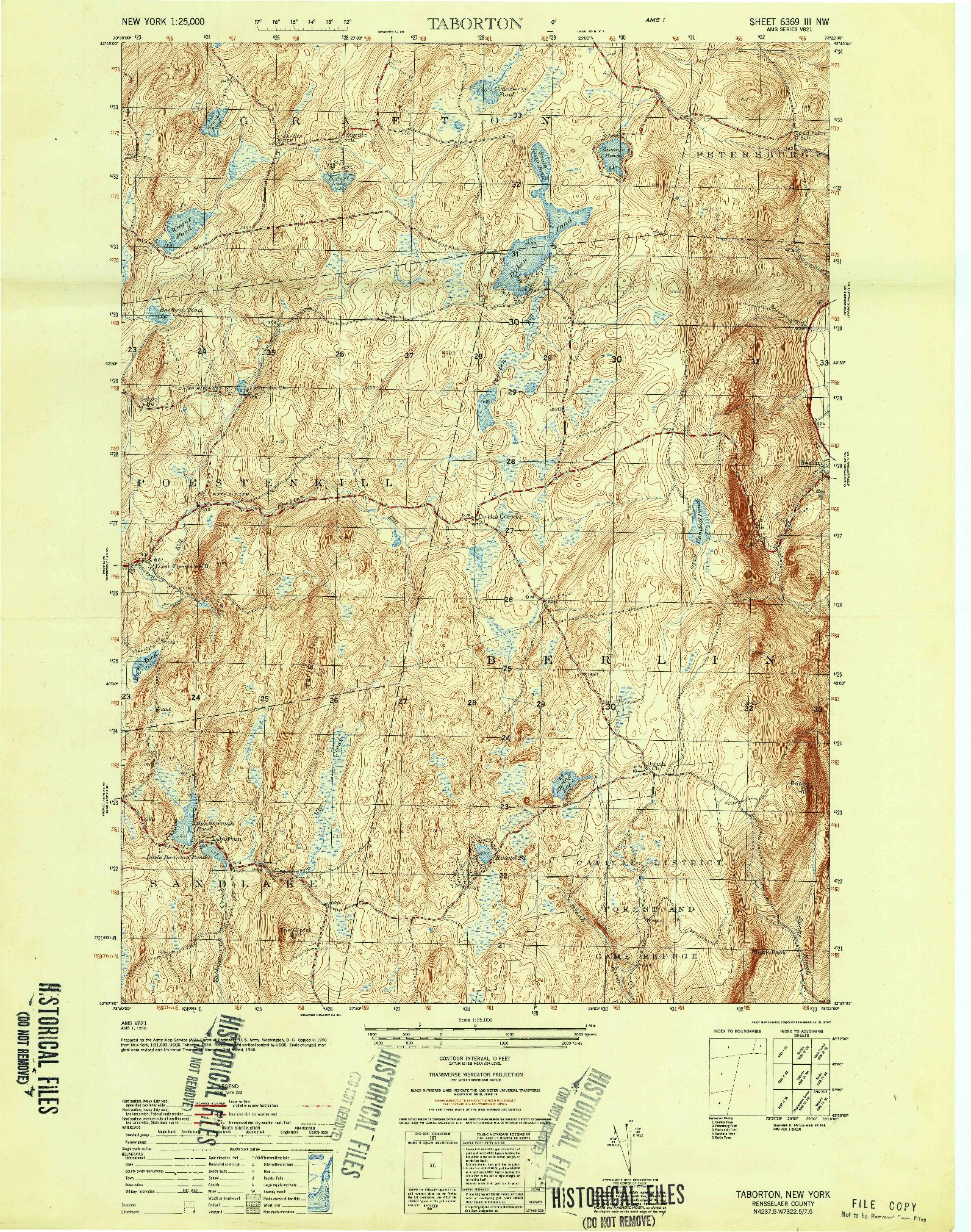 USGS 1:25000-SCALE QUADRANGLE FOR TABORTON, NY 1950