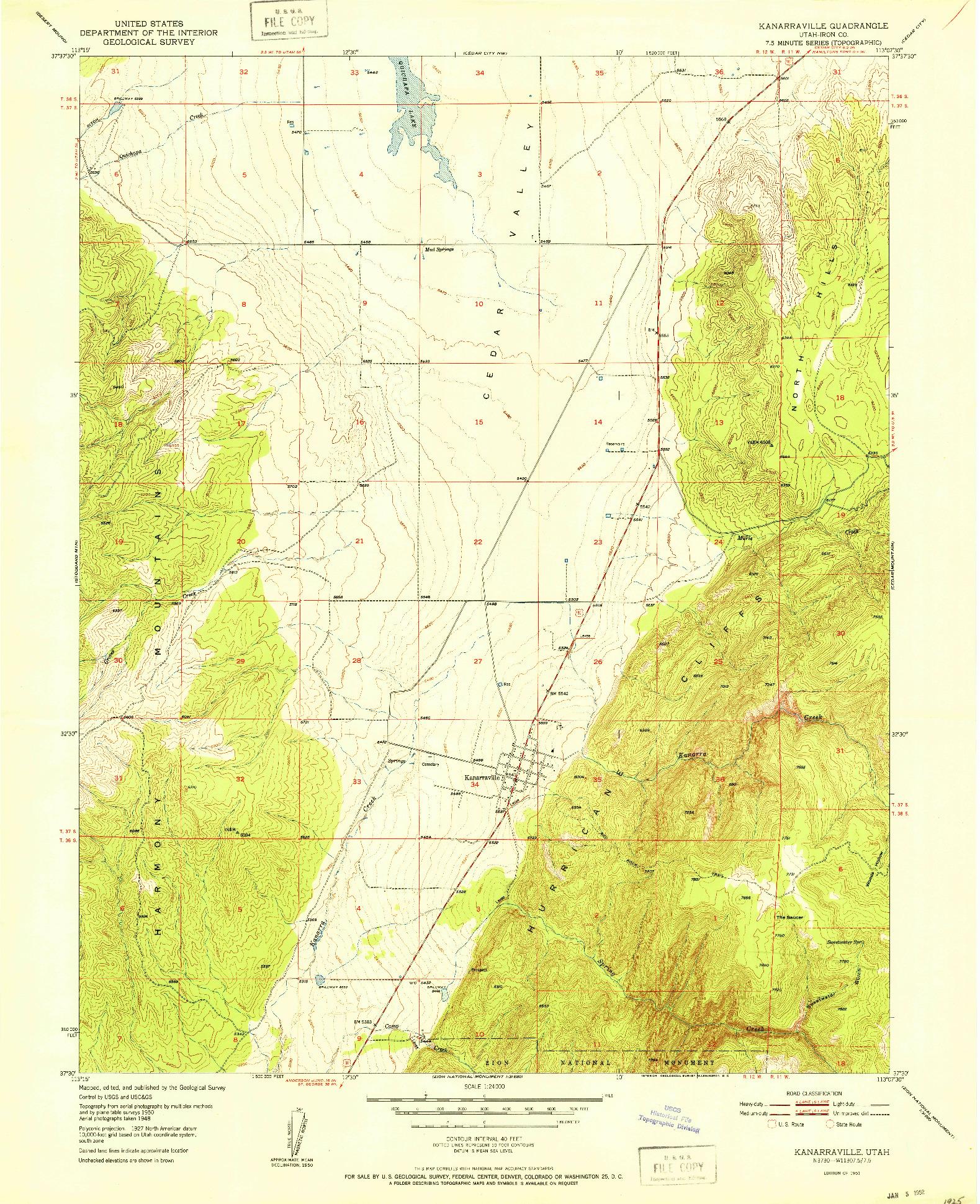 USGS 1:24000-SCALE QUADRANGLE FOR KANARRAVILLE, UT 1951