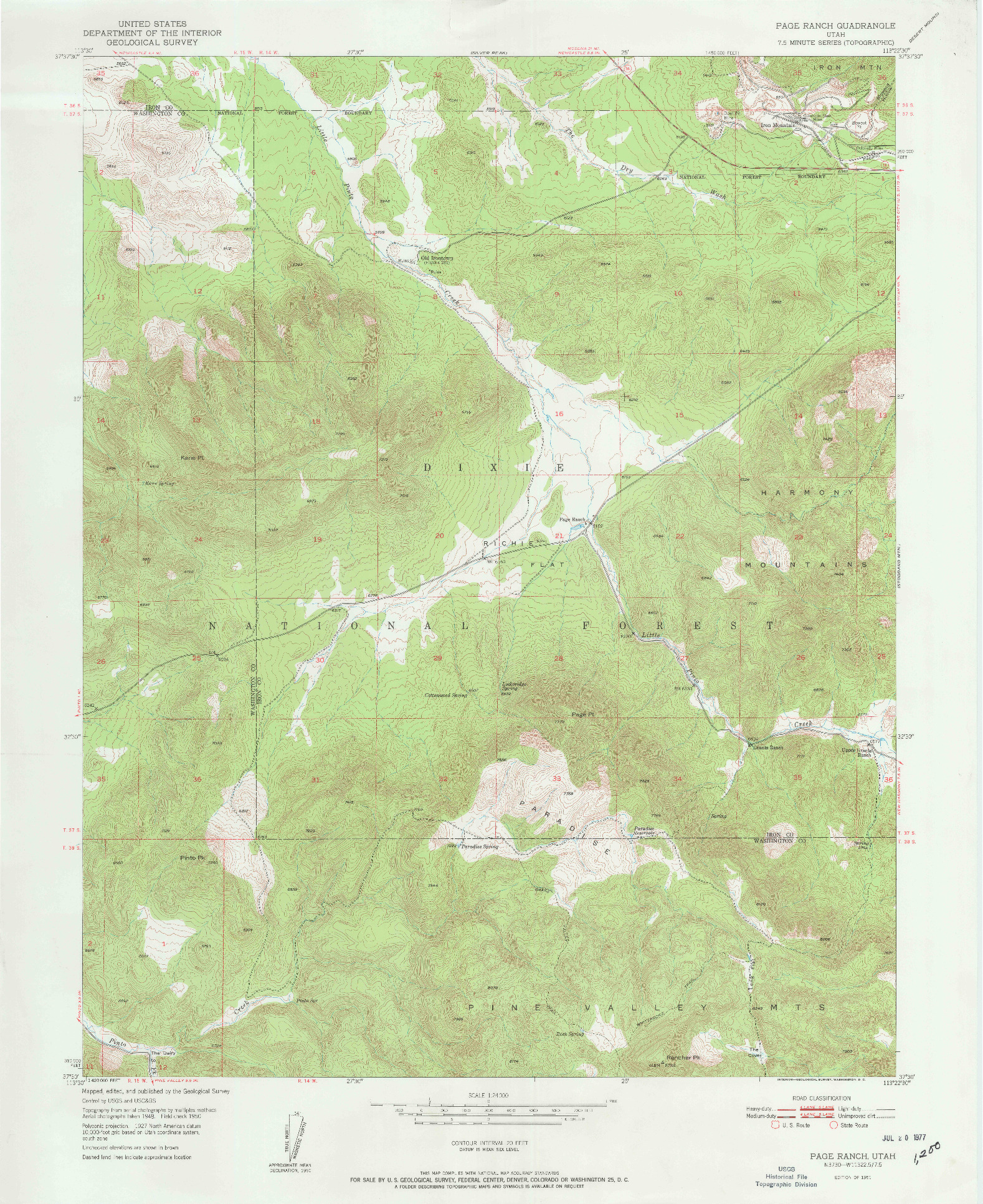 USGS 1:24000-SCALE QUADRANGLE FOR PAGE RANCH, UT 1951