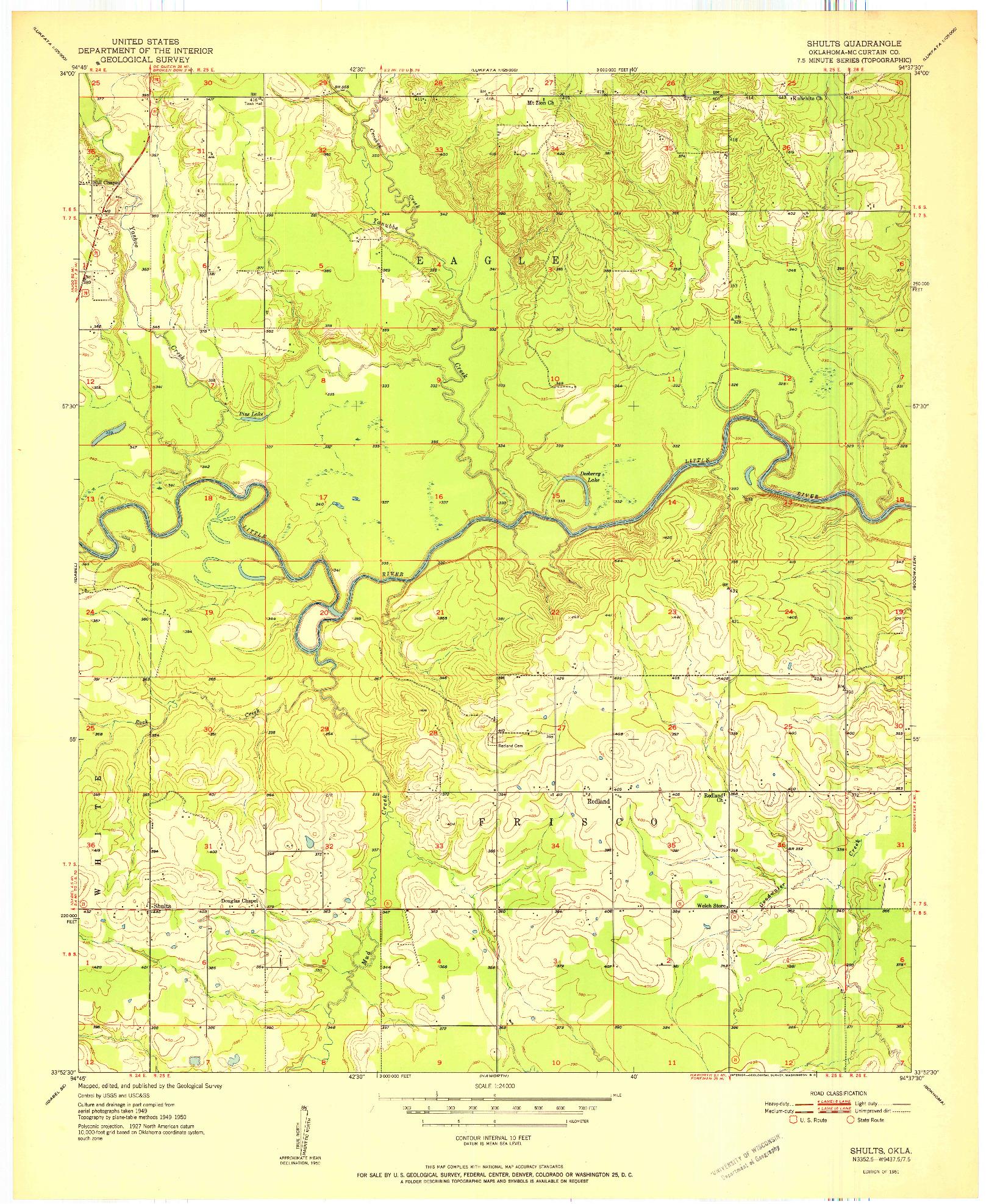 USGS 1:24000-SCALE QUADRANGLE FOR SHULTS, OK 1951