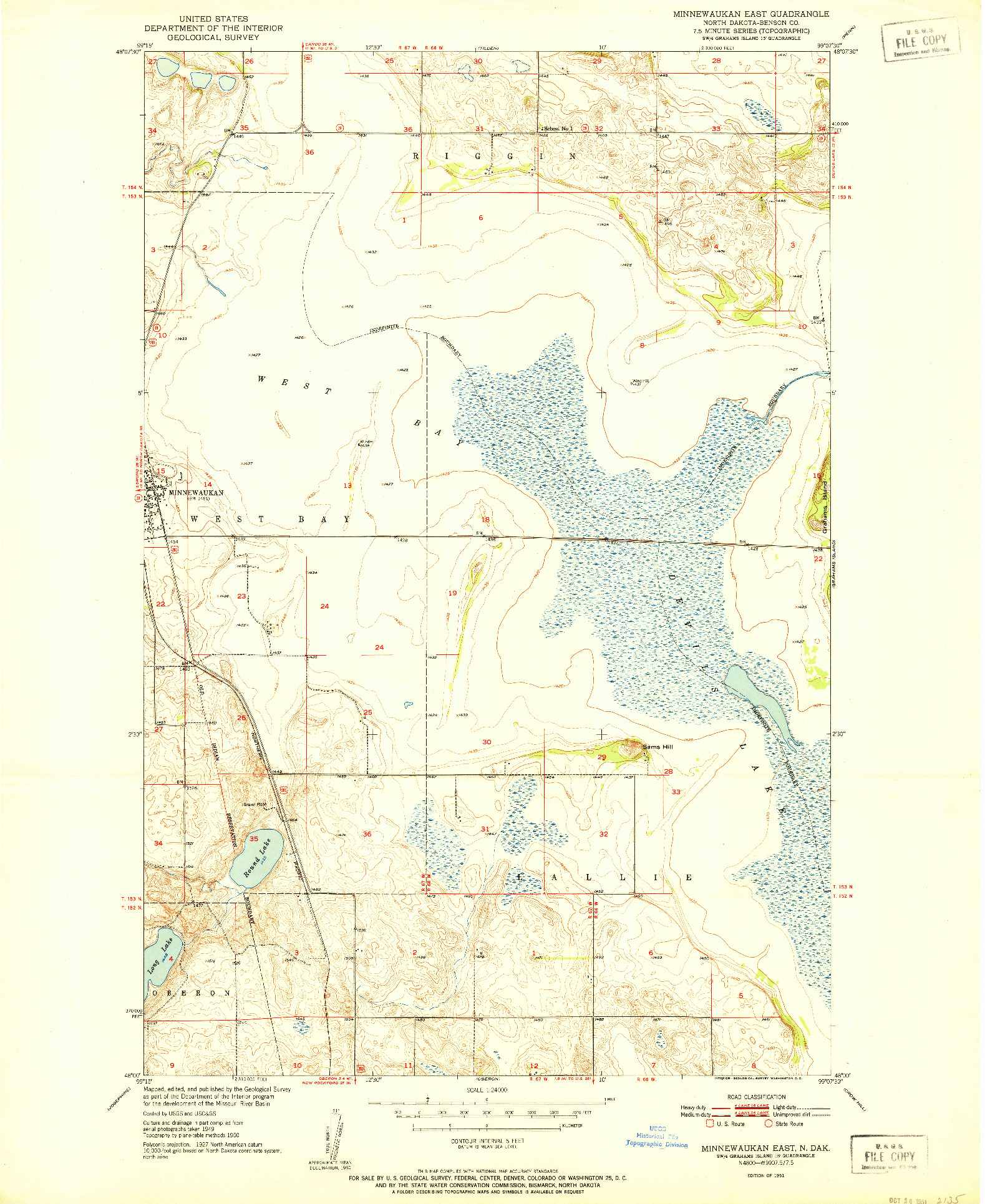 USGS 1:24000-SCALE QUADRANGLE FOR MINNEWAUKAN EAST, ND 1951
