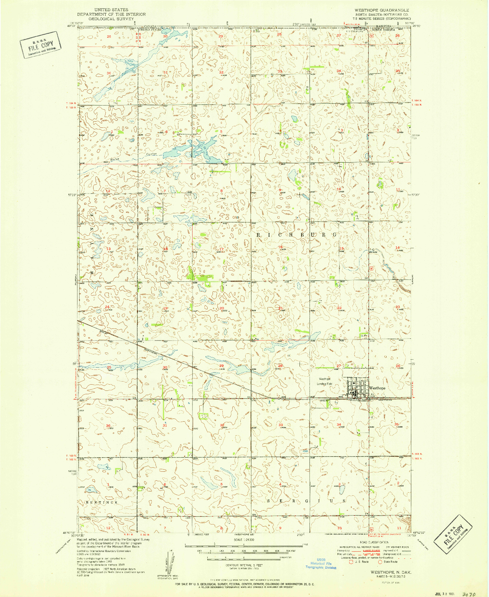 USGS 1:24000-SCALE QUADRANGLE FOR WESTHOPE, ND 1951