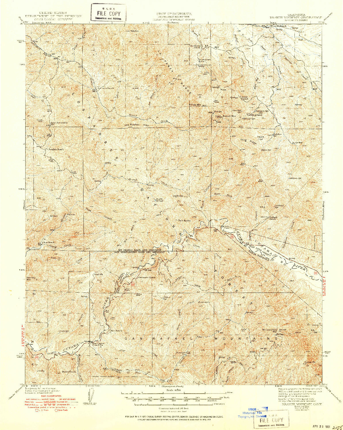 USGS 1:62500-SCALE QUADRANGLE FOR BRANCH MTN, CA 1942