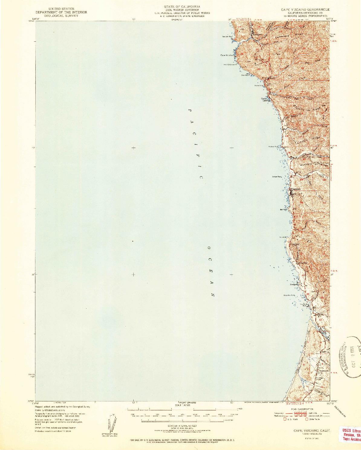 USGS 1:62500-SCALE QUADRANGLE FOR CAPE VIZCAINO, CA 1951