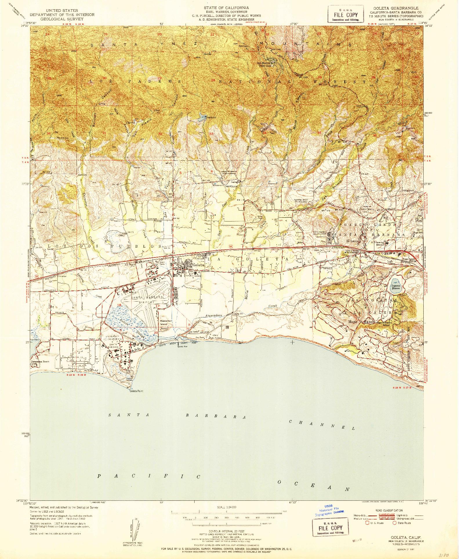 USGS 1:24000-SCALE QUADRANGLE FOR GOLETA, CA 1951