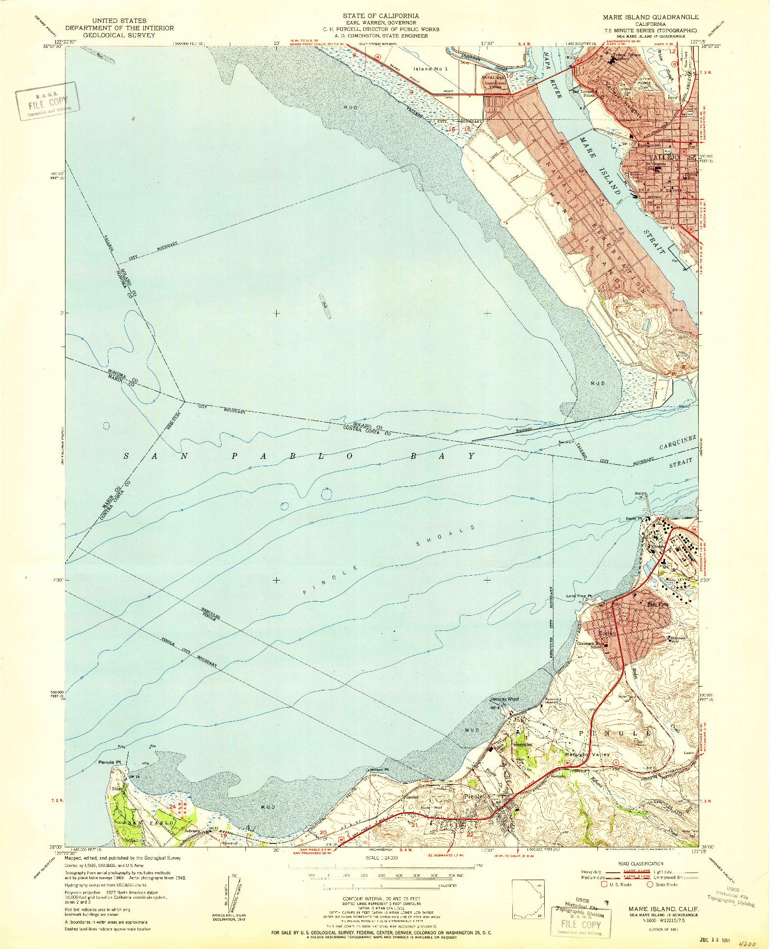 USGS 1:24000-SCALE QUADRANGLE FOR MARE ISLAND, CA 1951