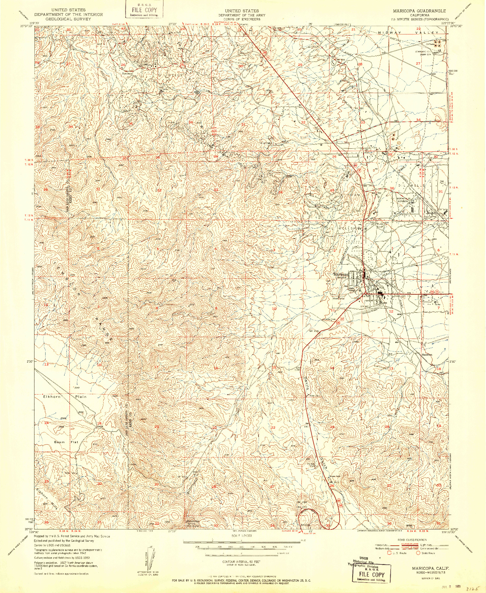 USGS 1:24000-SCALE QUADRANGLE FOR MARICOPA, CA 1951