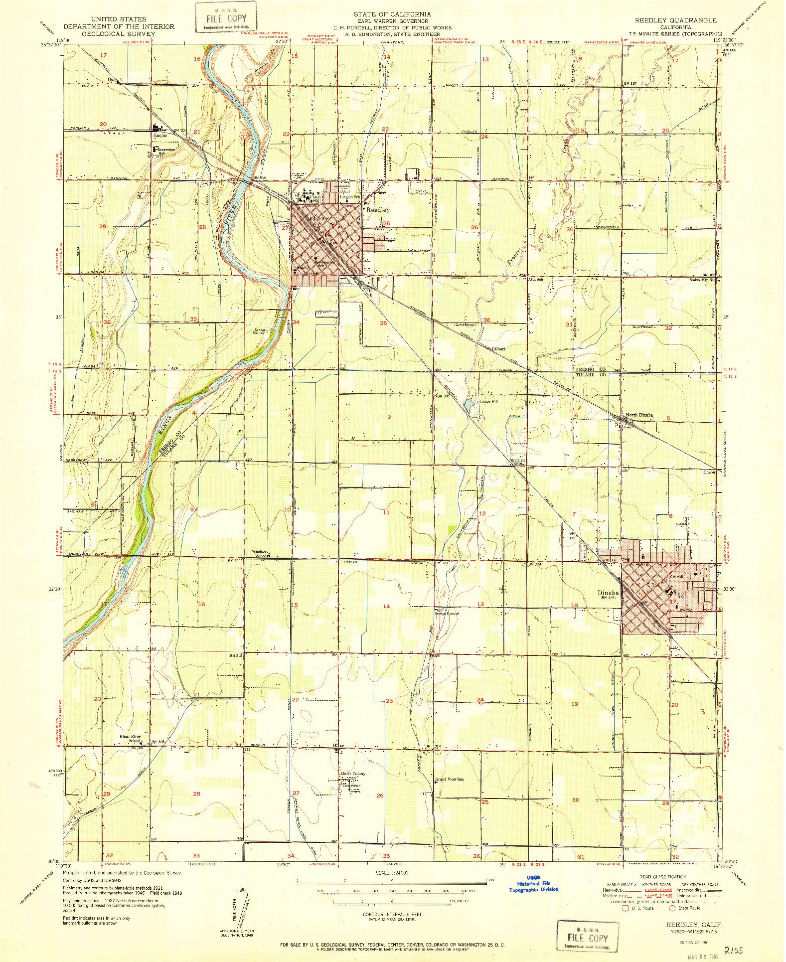 USGS 1:24000-SCALE QUADRANGLE FOR REEDLEY, CA 1951