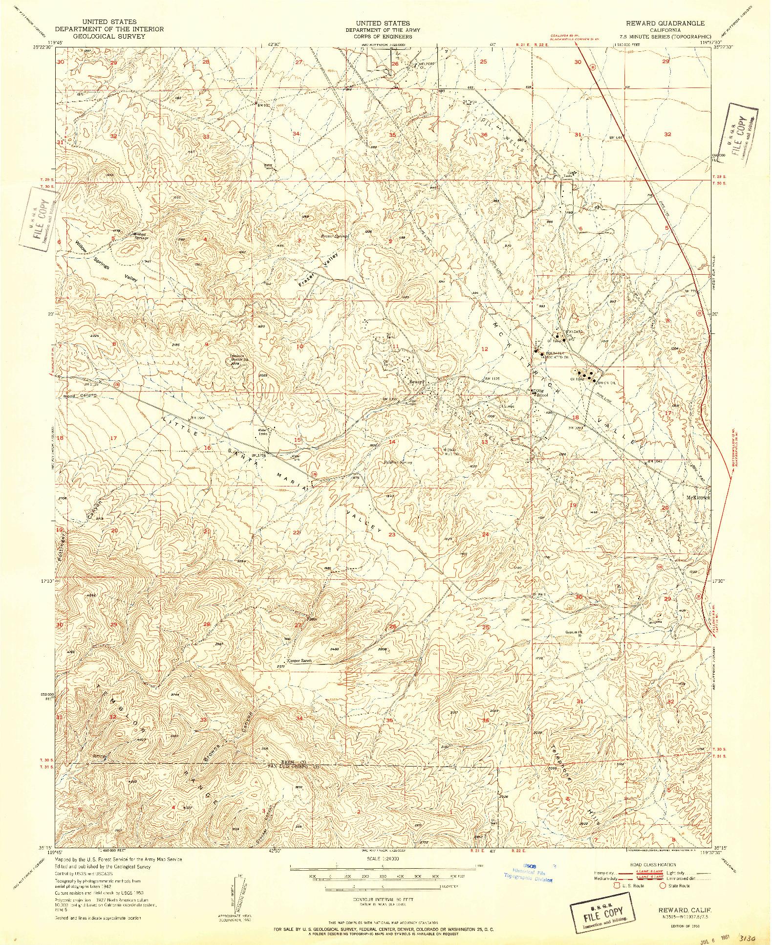 USGS 1:24000-SCALE QUADRANGLE FOR REWARD, CA 1951