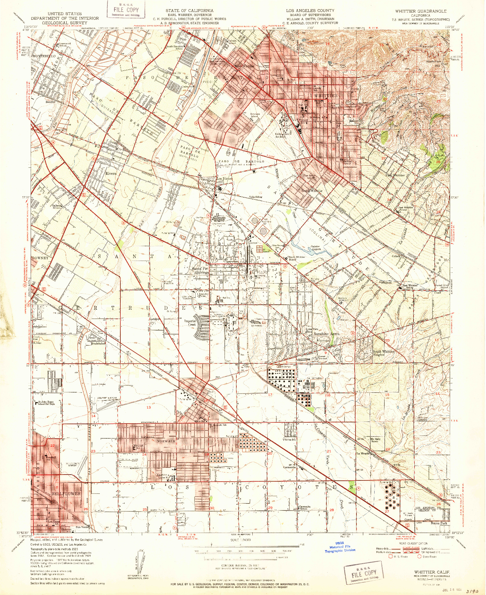 USGS 1:24000-SCALE QUADRANGLE FOR WHITTIER, CA 1951
