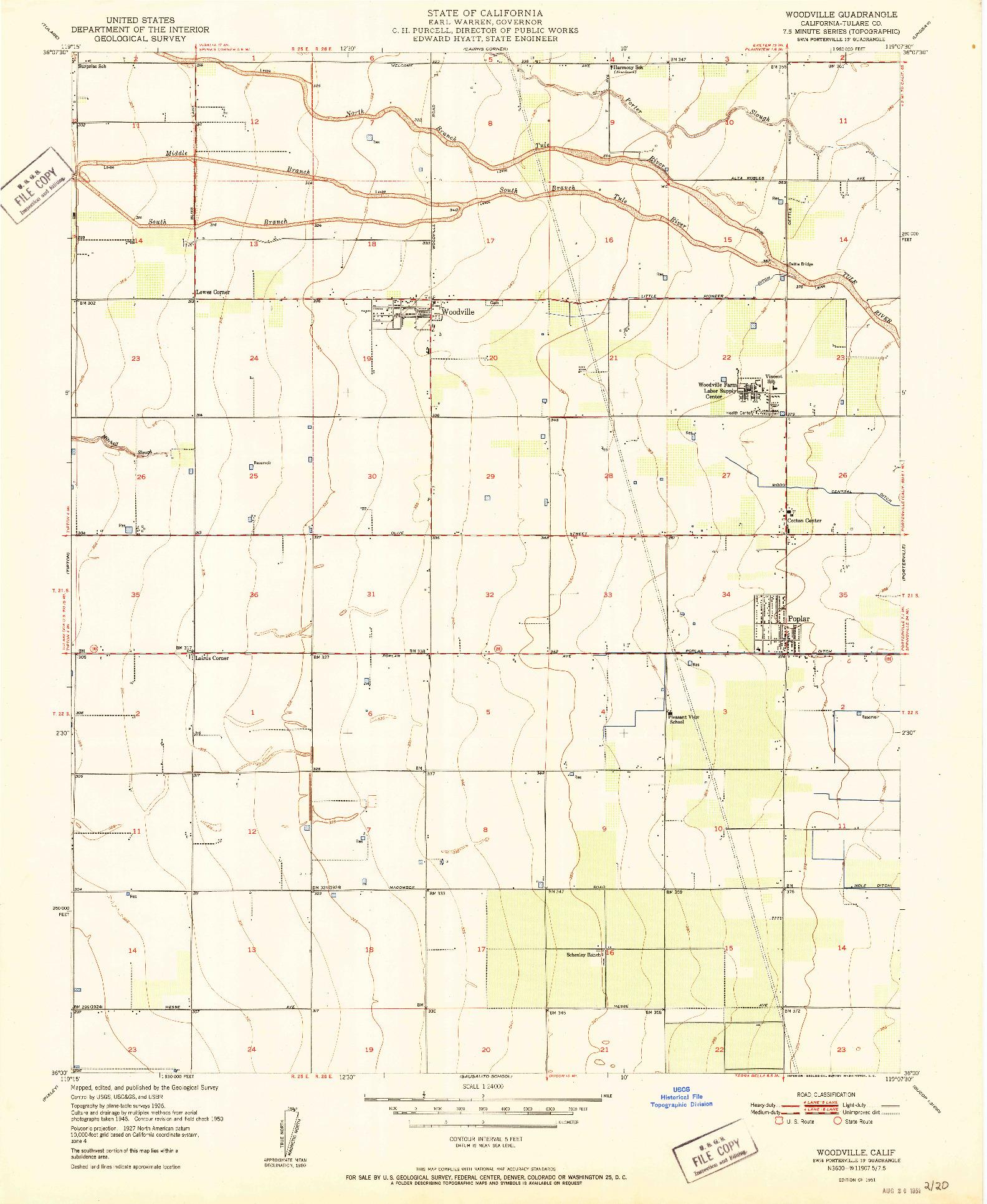 USGS 1:24000-SCALE QUADRANGLE FOR WOODVILLE, CA 1951
