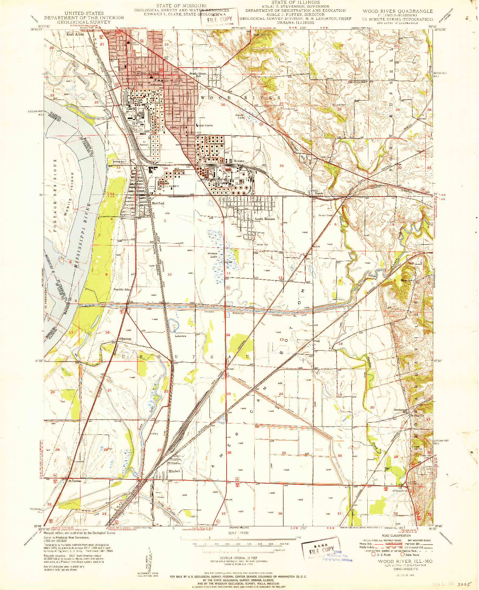 USGS 1:24000-SCALE QUADRANGLE FOR WOOD RIVER, IL 1951