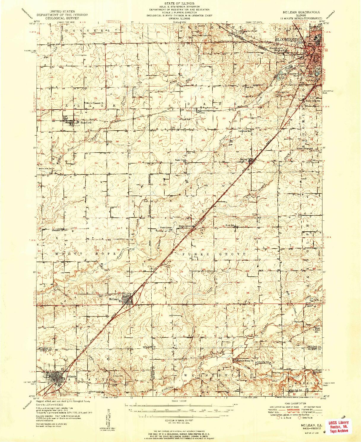 USGS 1:62500-SCALE QUADRANGLE FOR MCLEAN, IL 1951
