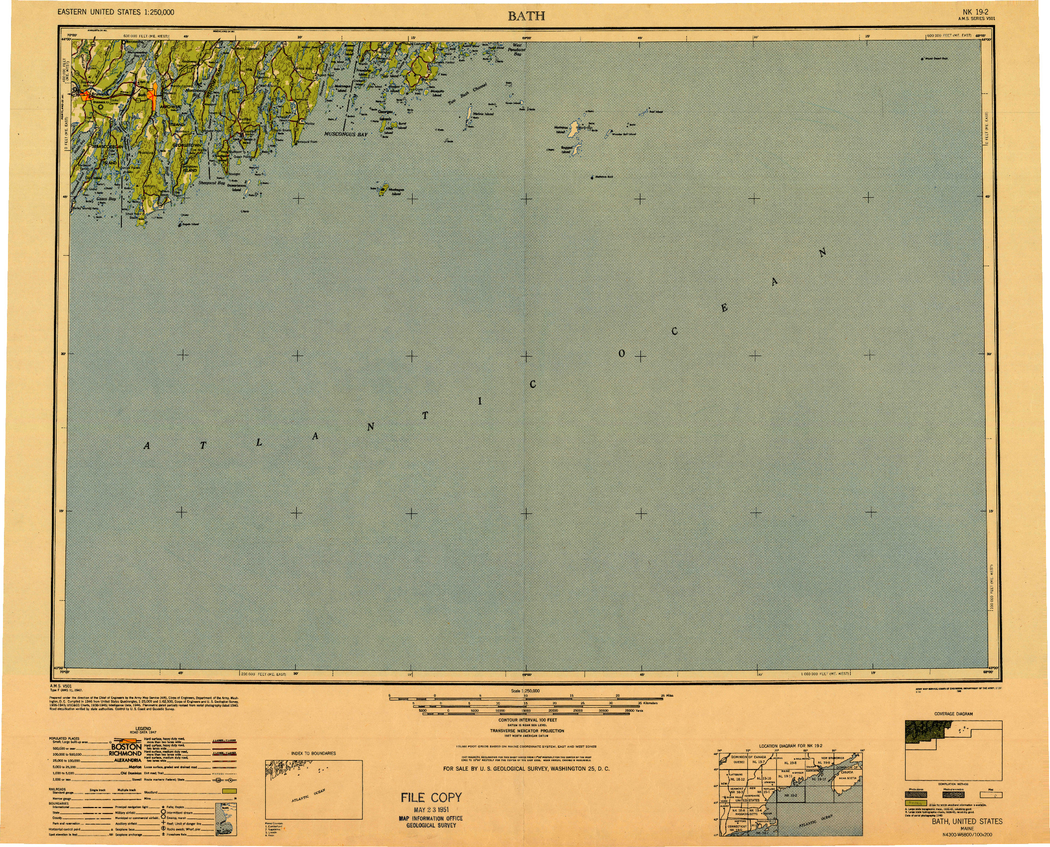 USGS 1:250000-SCALE QUADRANGLE FOR BATH, ME 1948