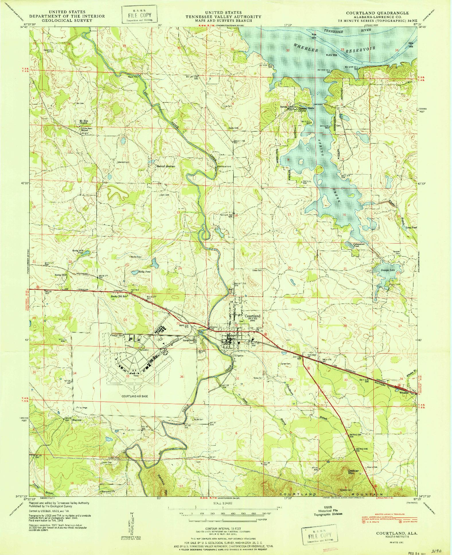 USGS 1:24000-SCALE QUADRANGLE FOR COURTLAND, AL 1951